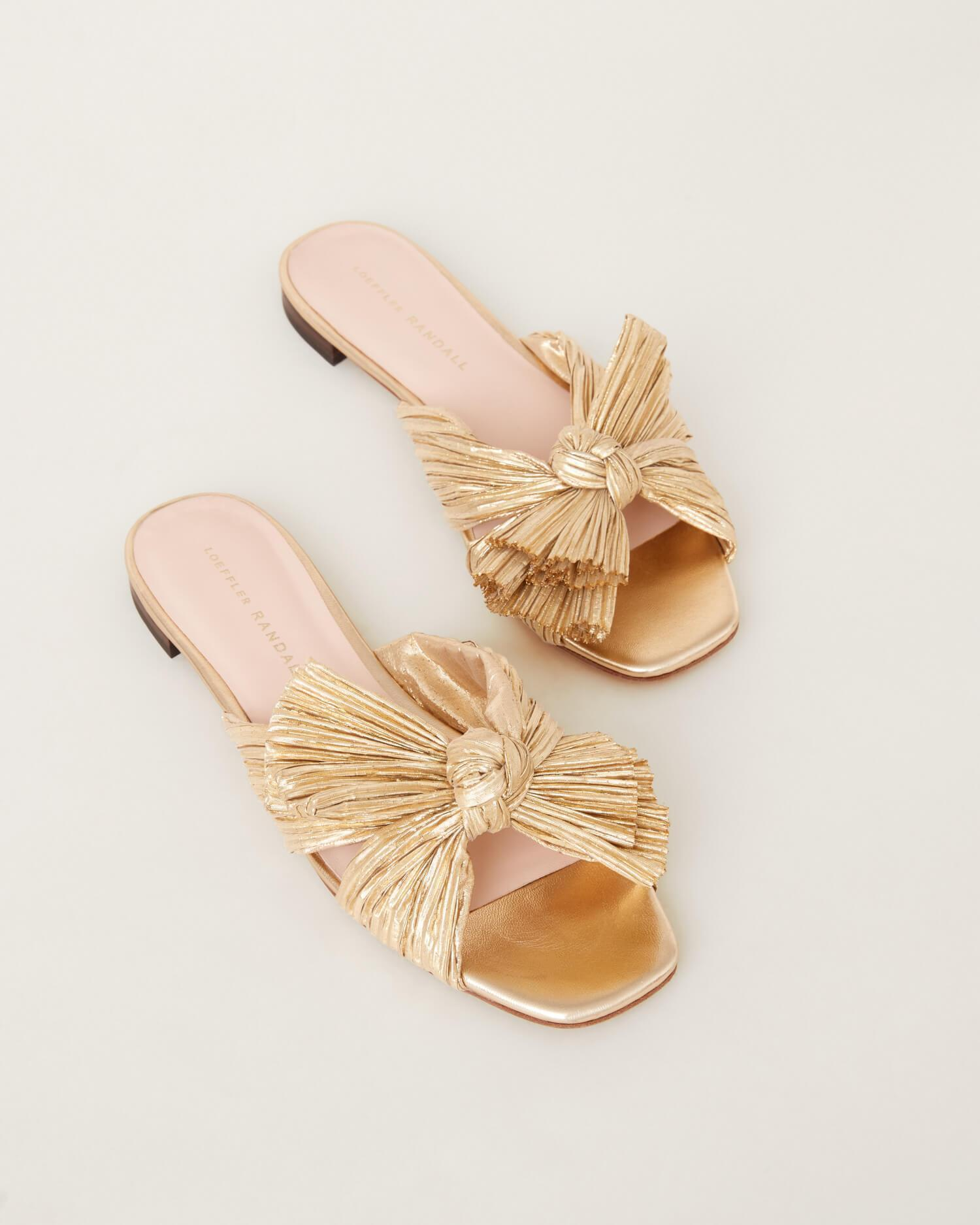 Daphne Pleated Gold Bow Slide 1