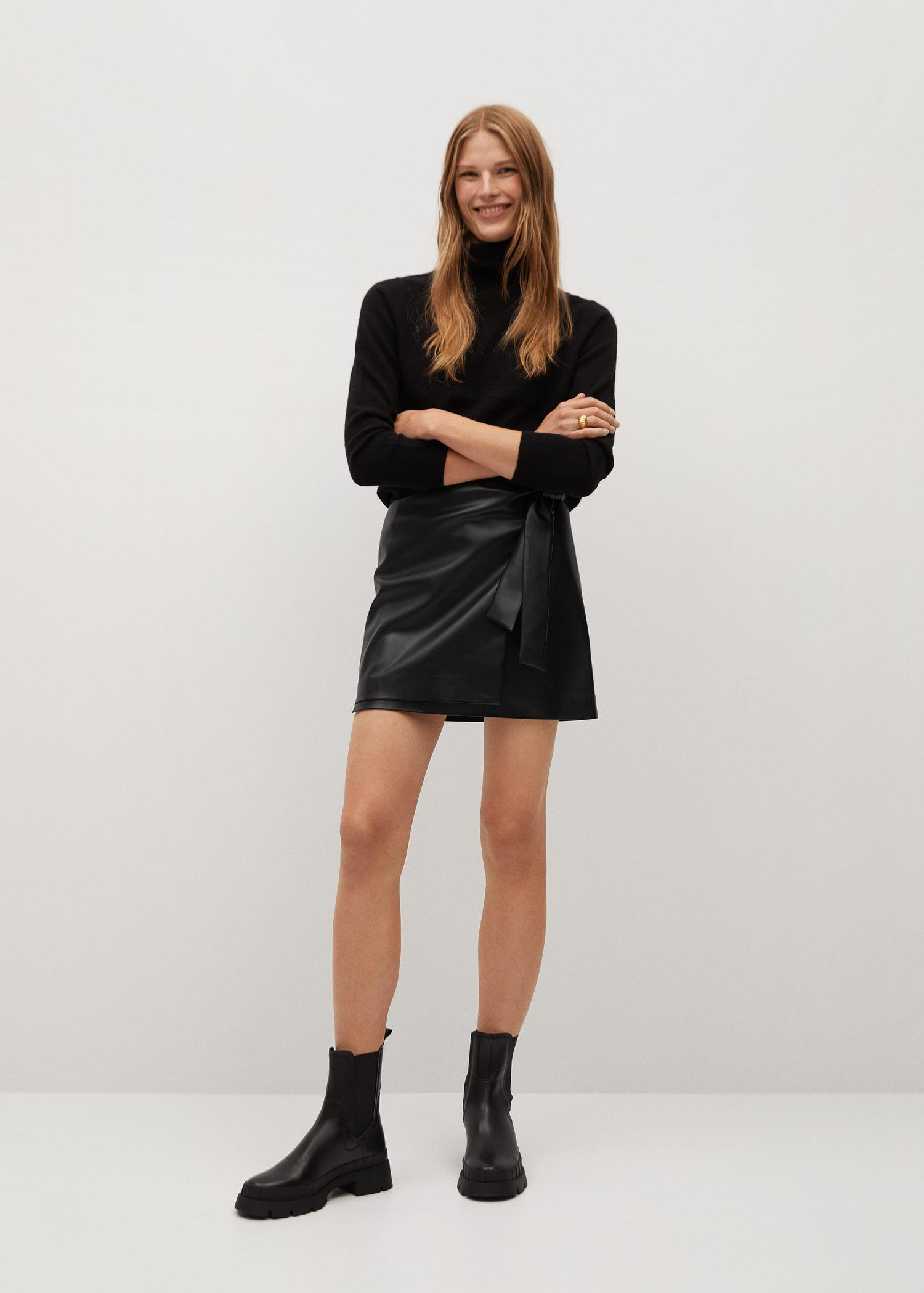 Knot leather-effect mini skirt 1
