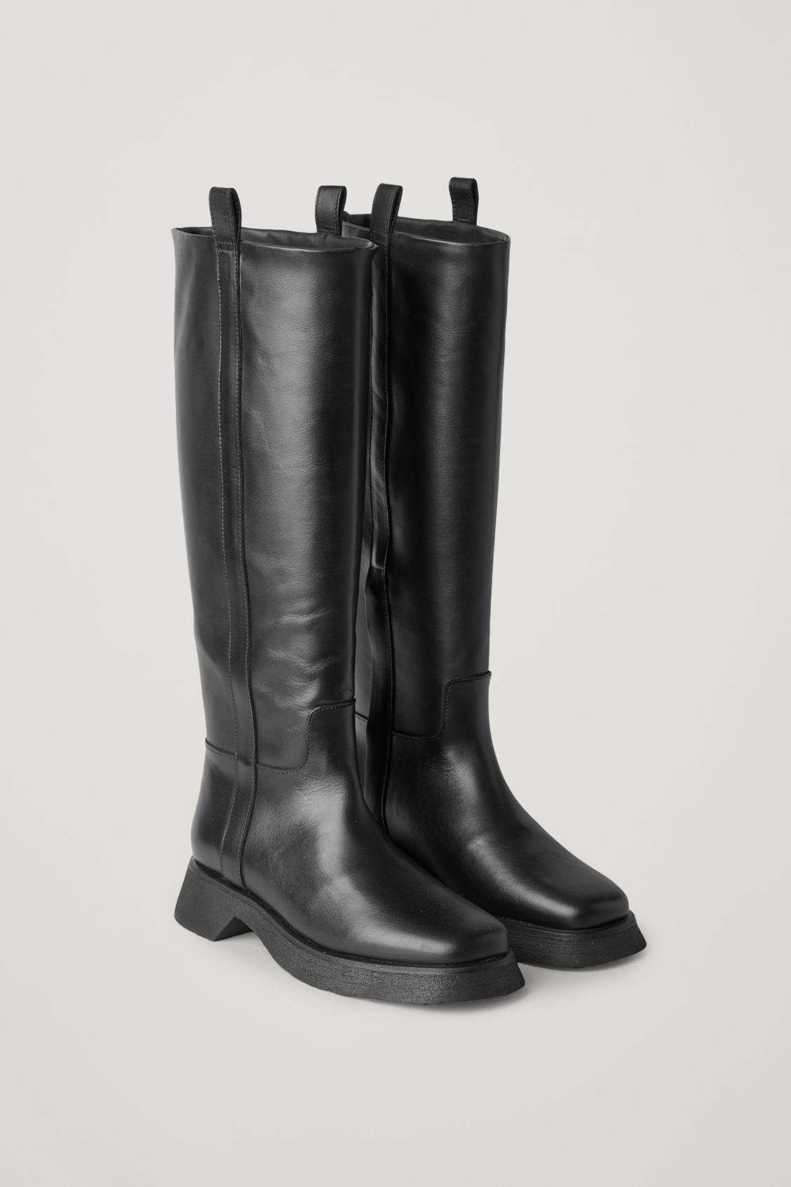 LEATHER CHUNKY SOLE KNEE HIGH BOOTS