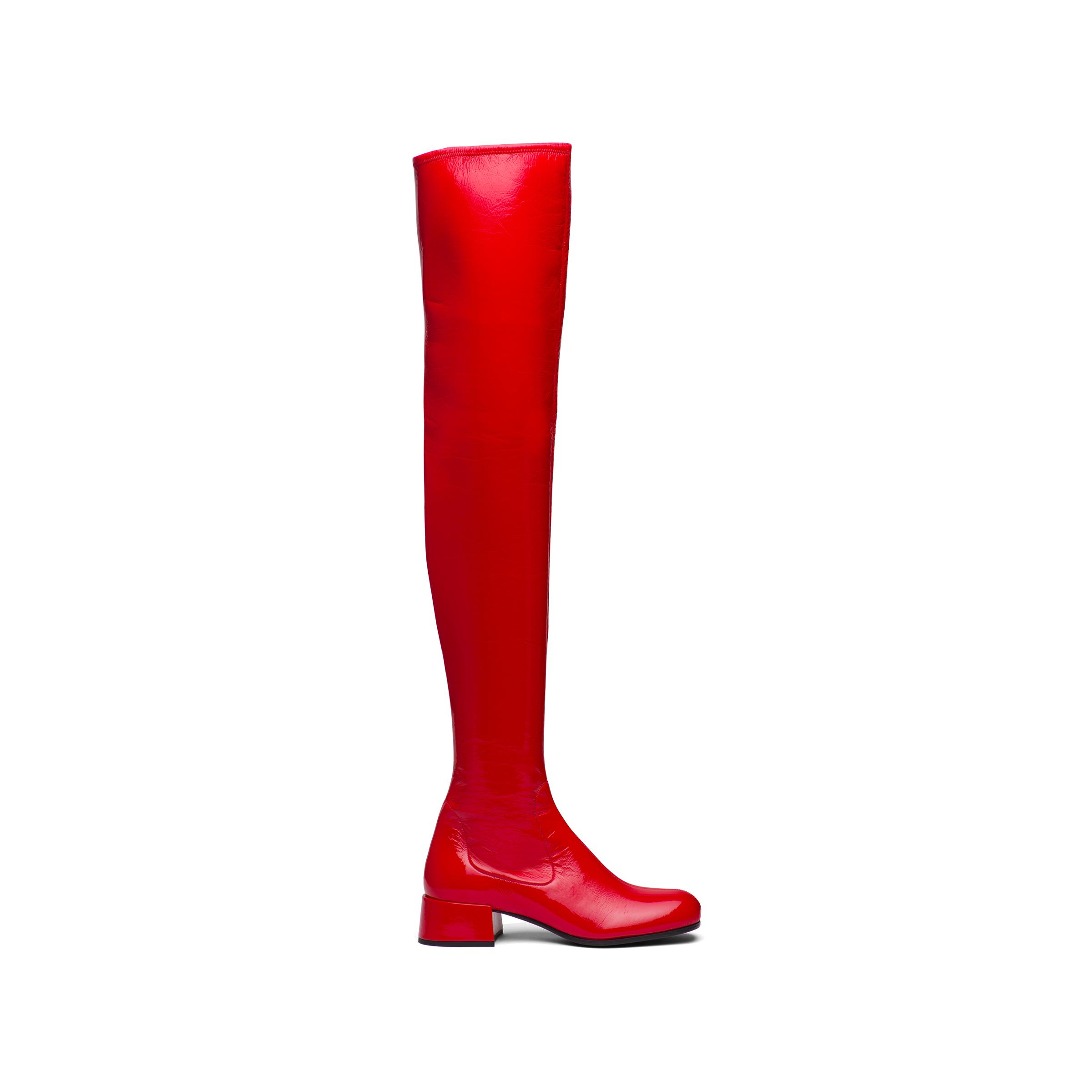 Technical Patent Leather Boots Women Red 2