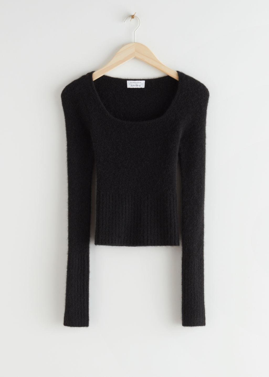 Fitted Alpaca Blend Knit Top