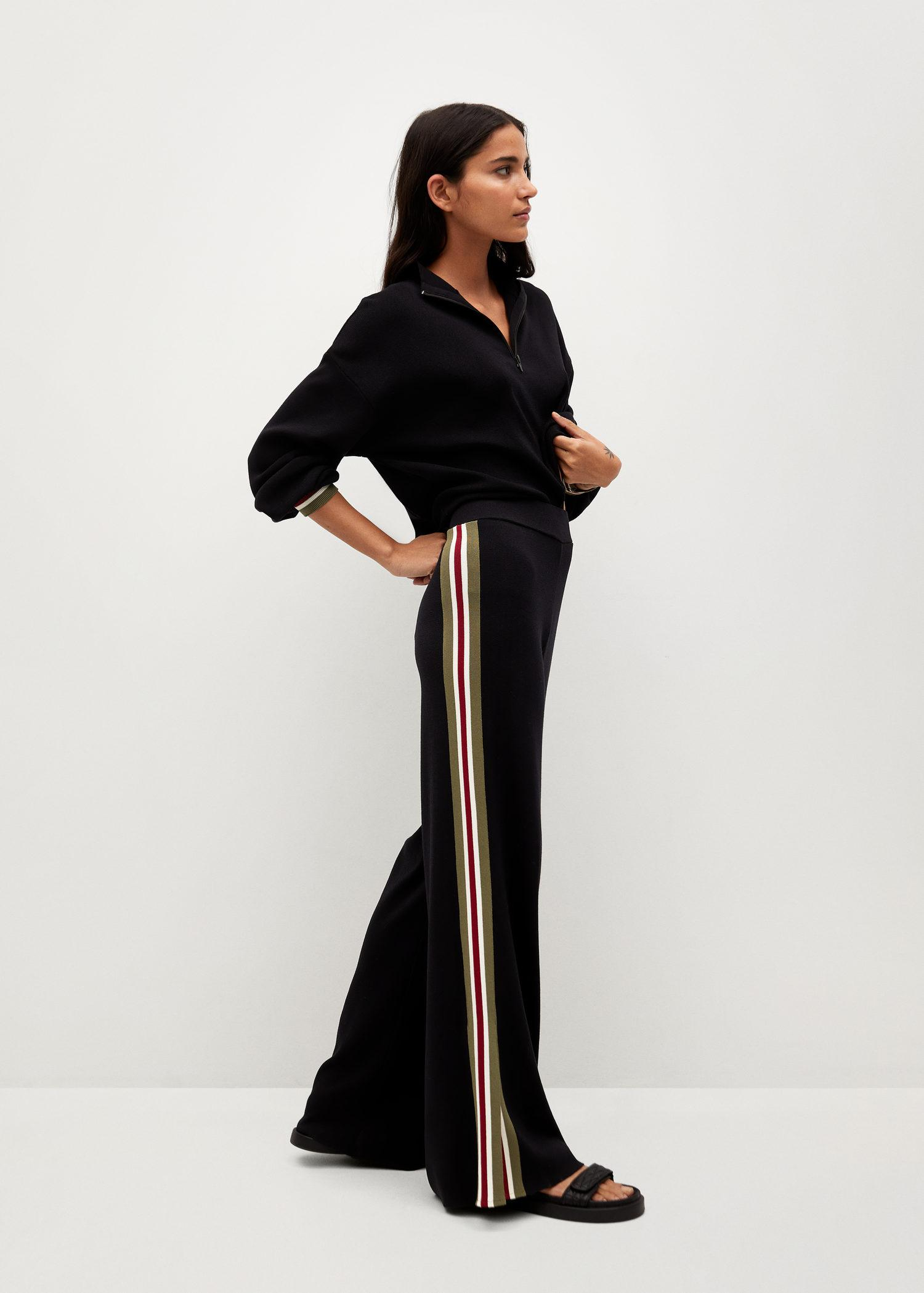 Contrasting bands knit trousers 1