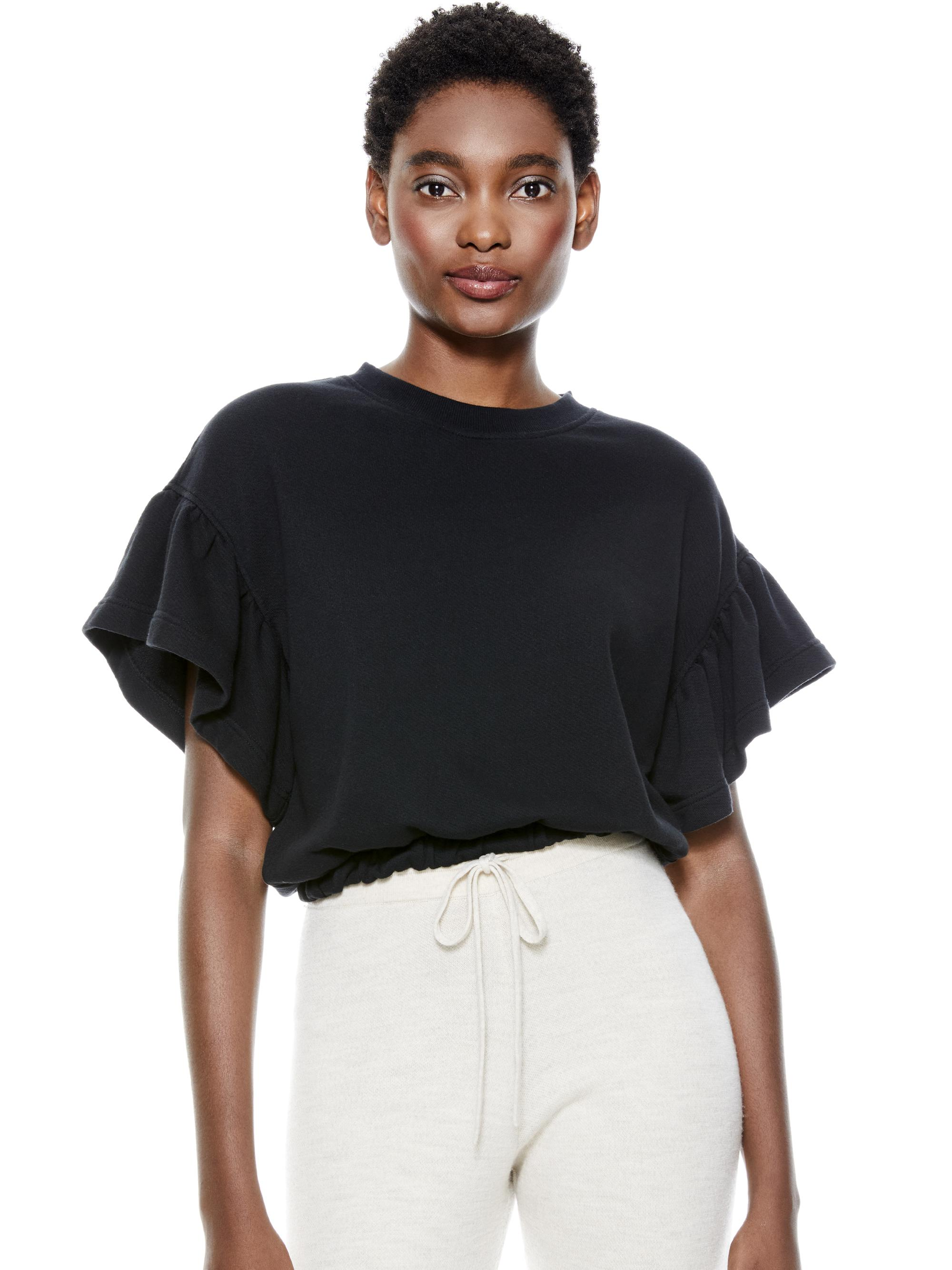 JOLINE RUFFLE SLEEVE CROPPED PULLOVER