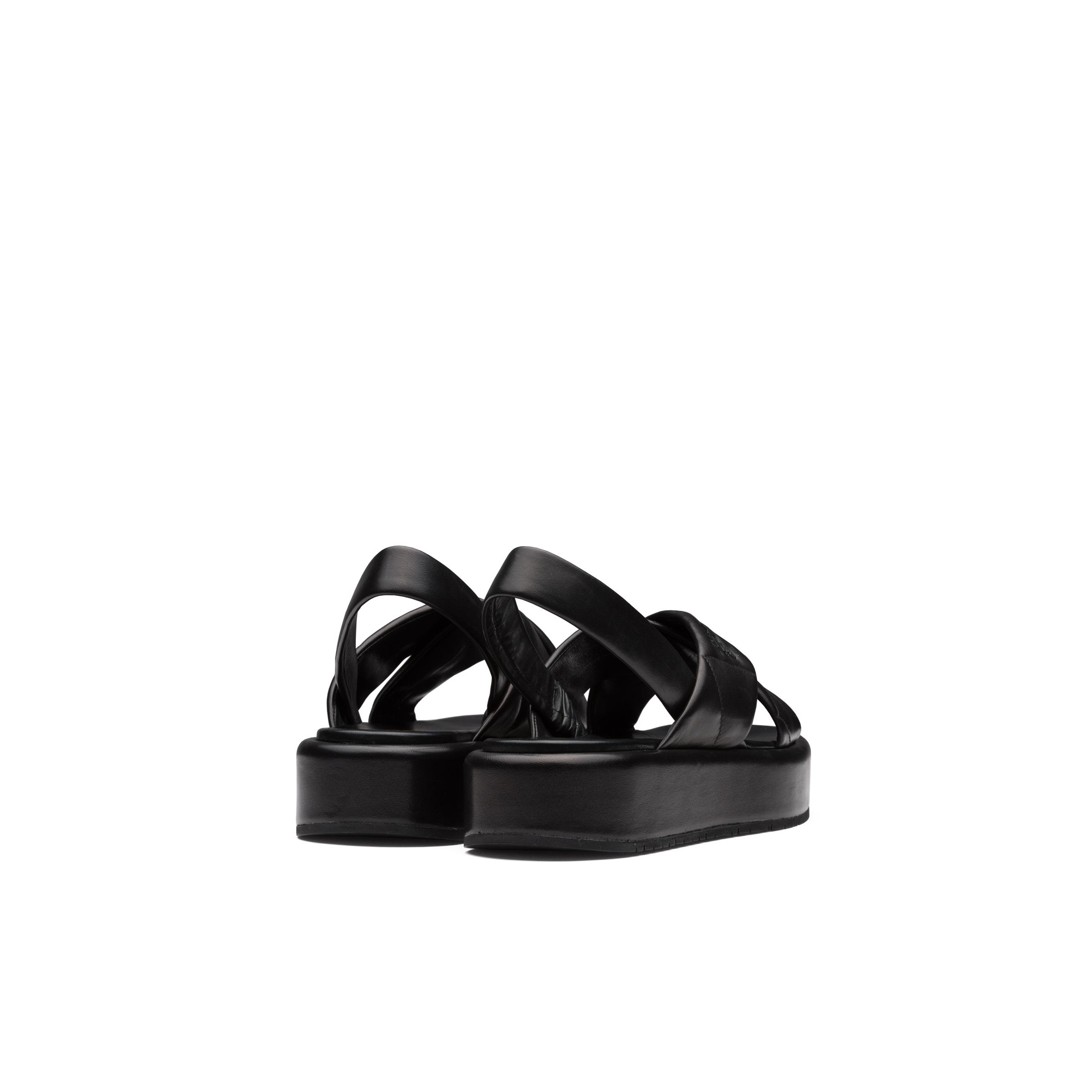 Quilted Nappa Leather Flatform Sandals Women Black 3