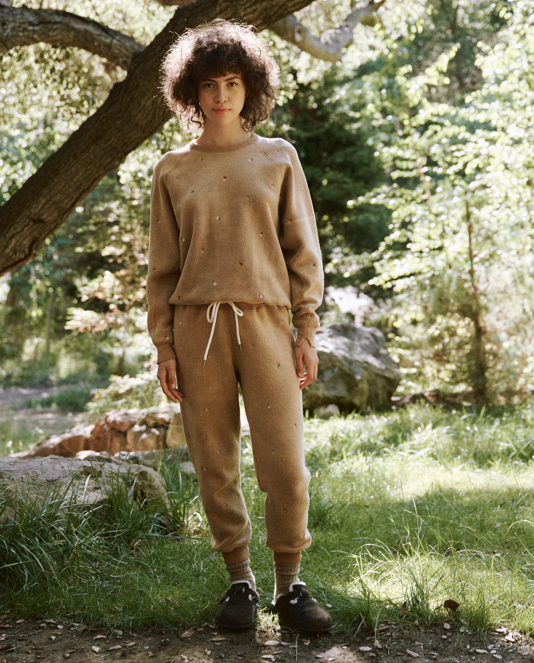 The Sherpa College Sweatshirt. -- Light Cider with Ditsy Floral Embroidery