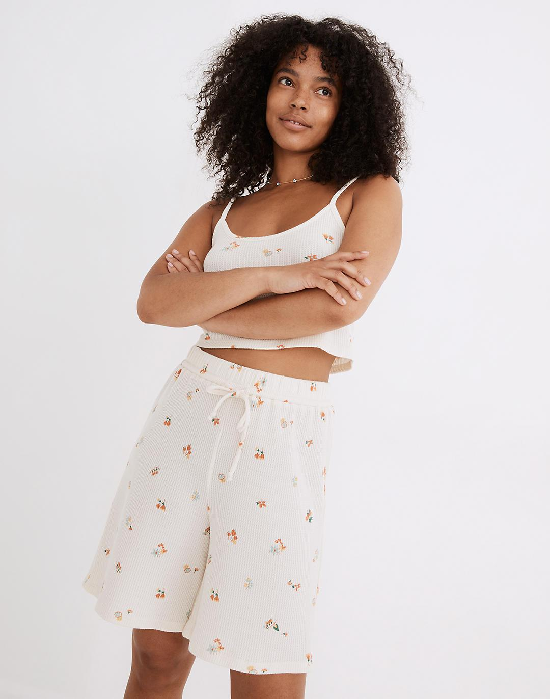 Waffle Knit Long Pajama Shorts in Floral Reef