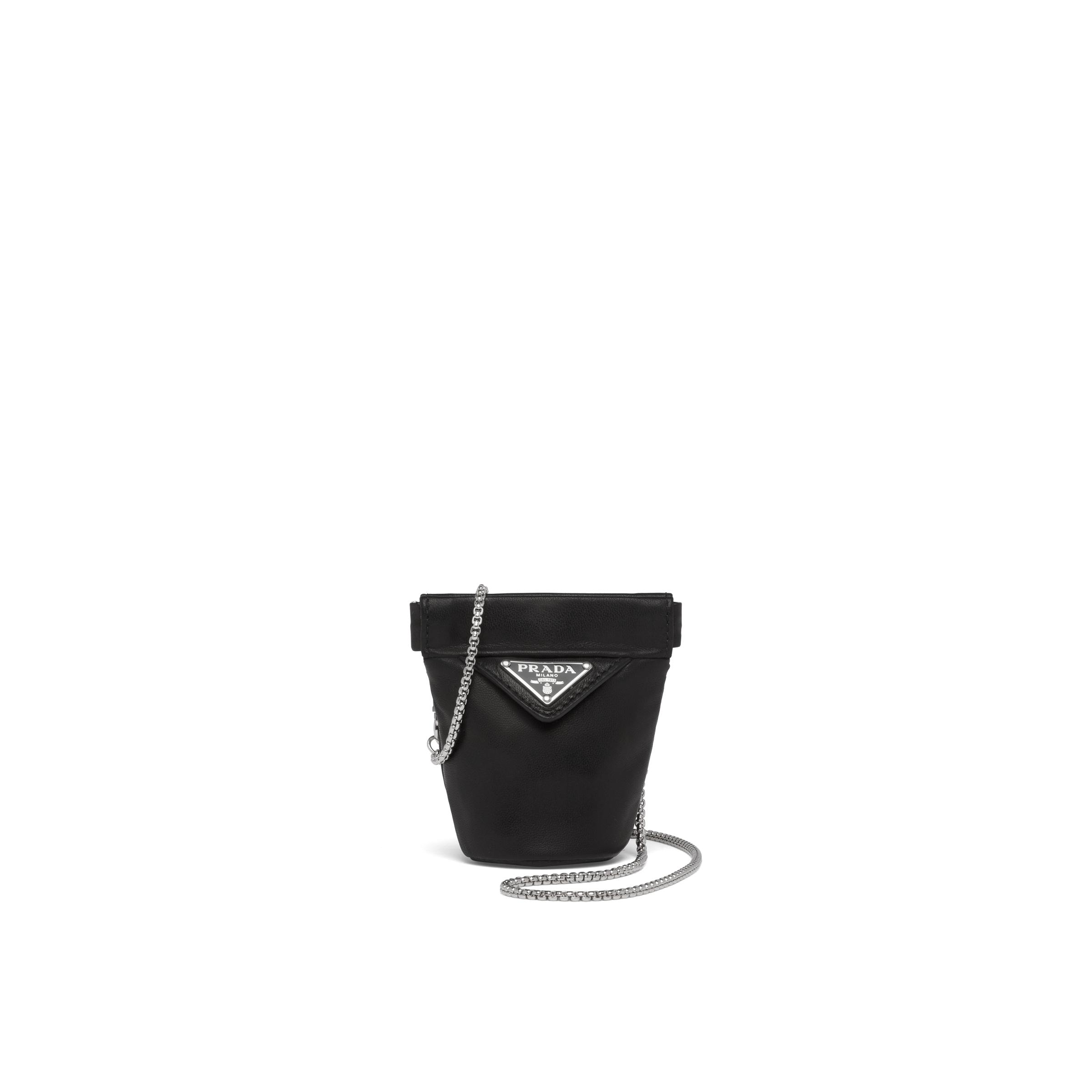 Nappa Leather Mini-pouch With Necklace Women Black