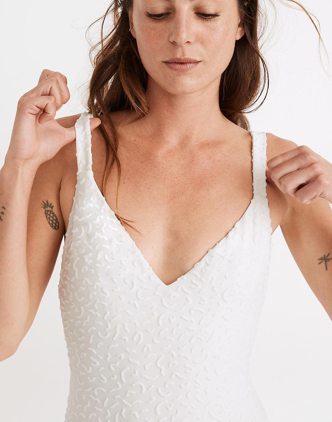 Madewell Maillot One-Piece Swimsuit in Bold Squiggles Jacquard 3