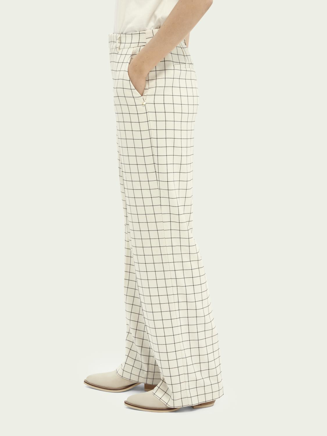 Edie high-rise wide-leg checked trousers 3