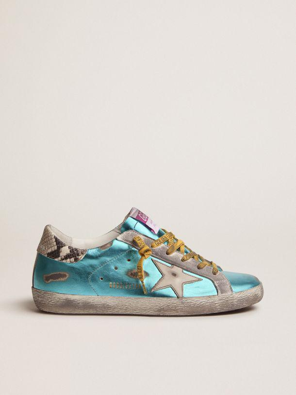 Turquoise green laminated Super-Star LTD sneakers with snake-print heel tab