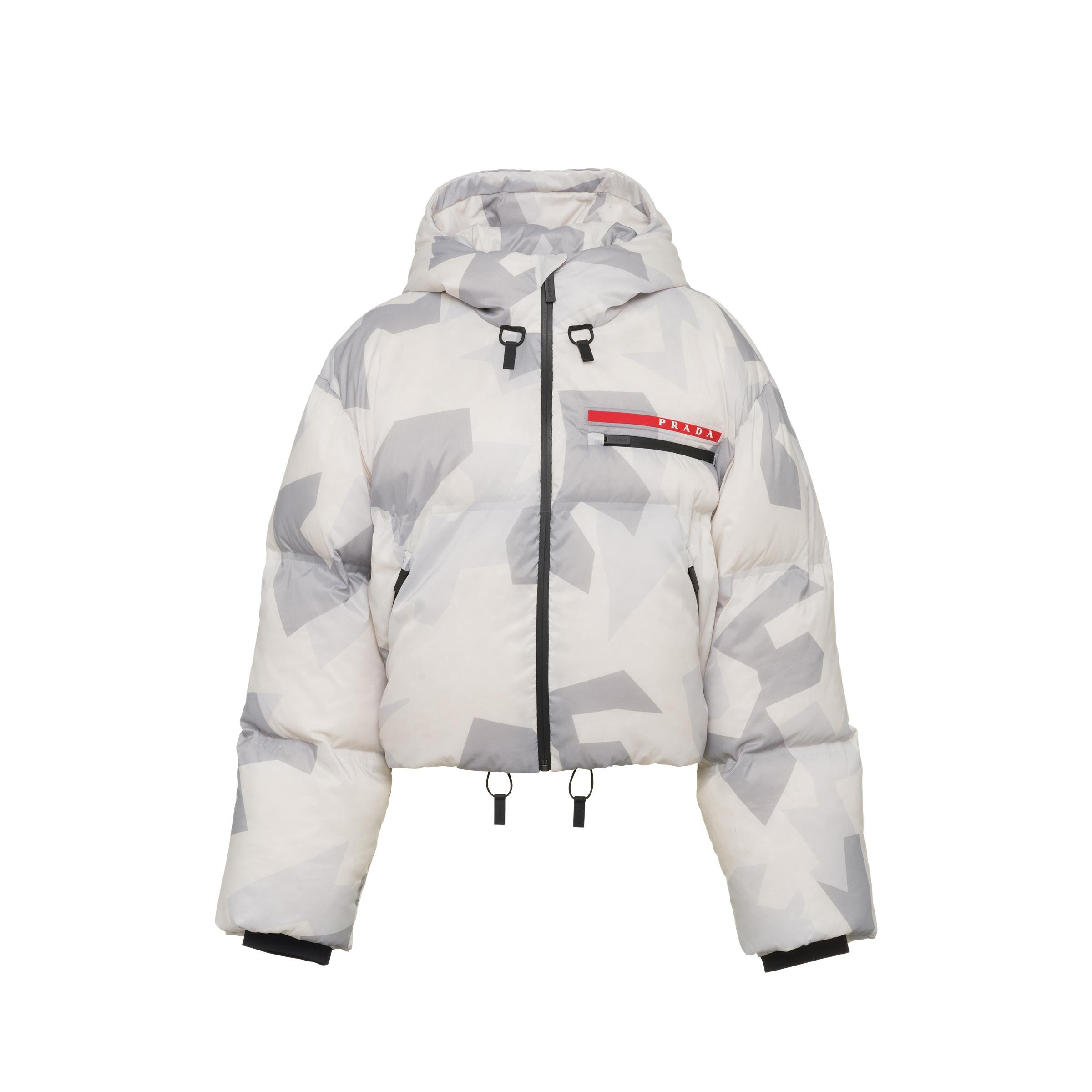 Cropped Camouflage Print Nylon Puffer Jacket Women Marble Gray