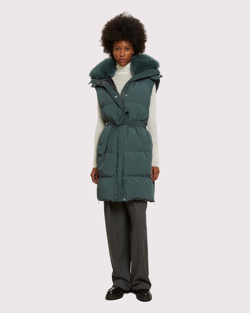 long belted gilet with cashmere goat collar