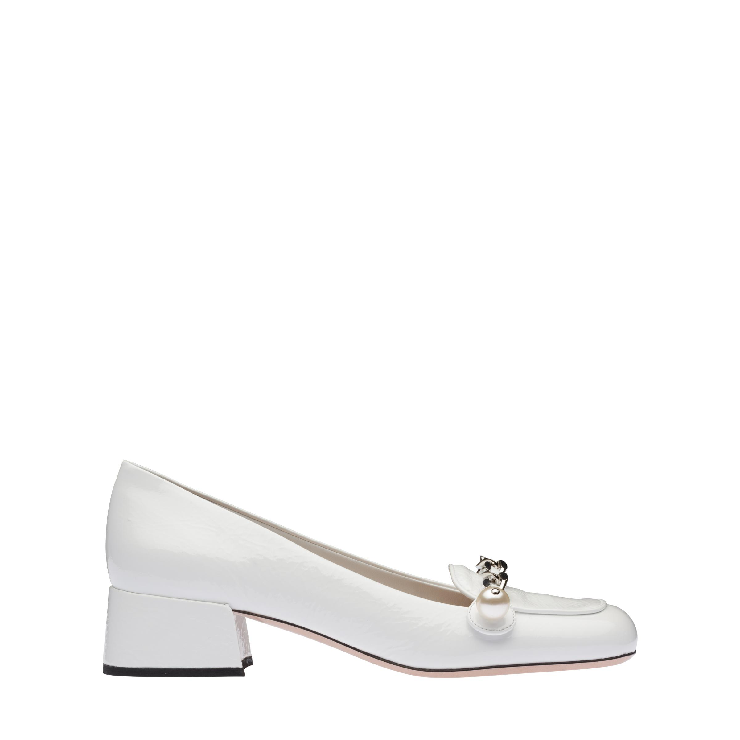 Patent Leather Loafers Women White 2