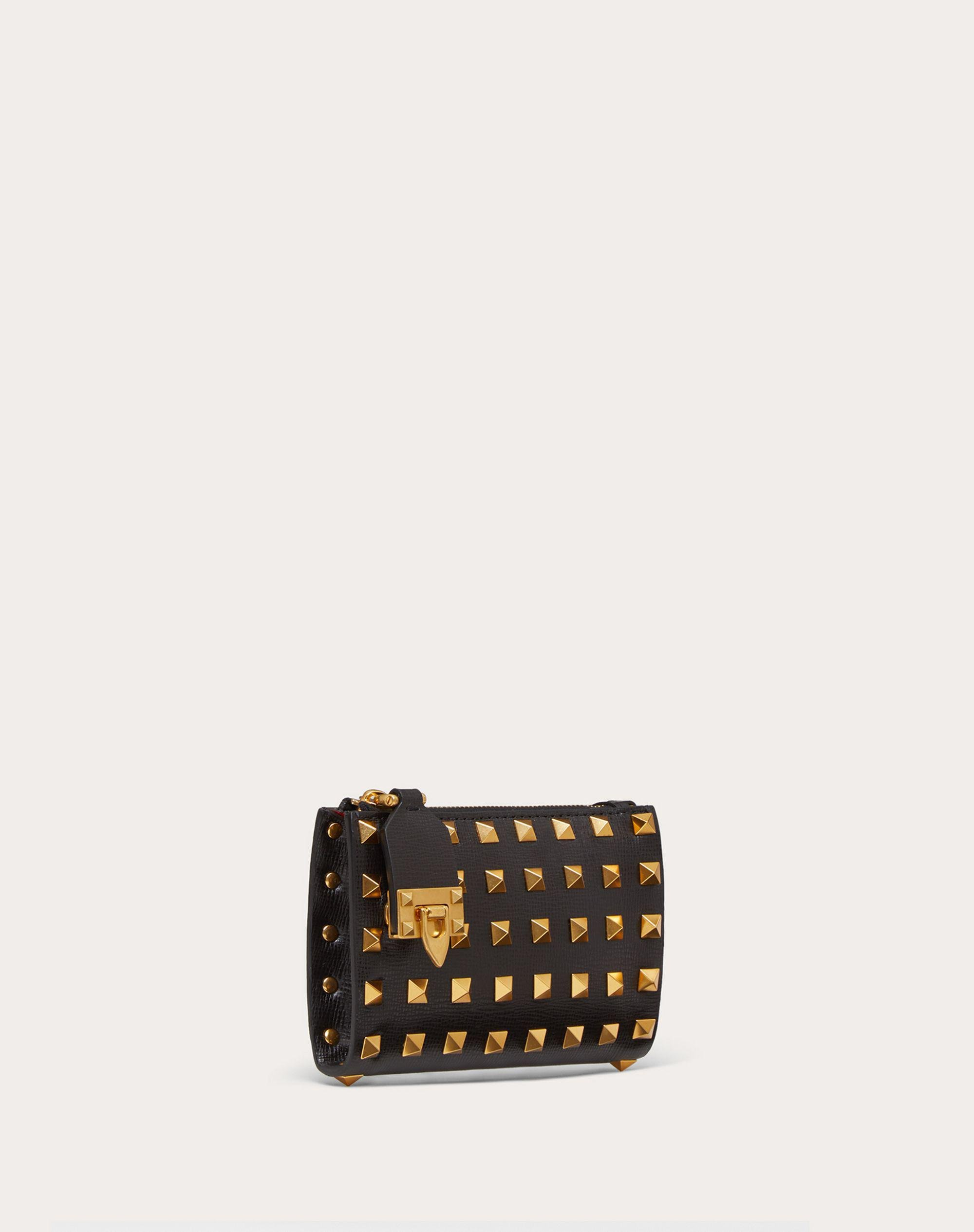 VALENTINO GARAVANI ROCKSTUD COIN PURSE AND CARDHOLDER IN GRAINY CALFSKIN LEATHER WITH ALL-OVER STUDS 3