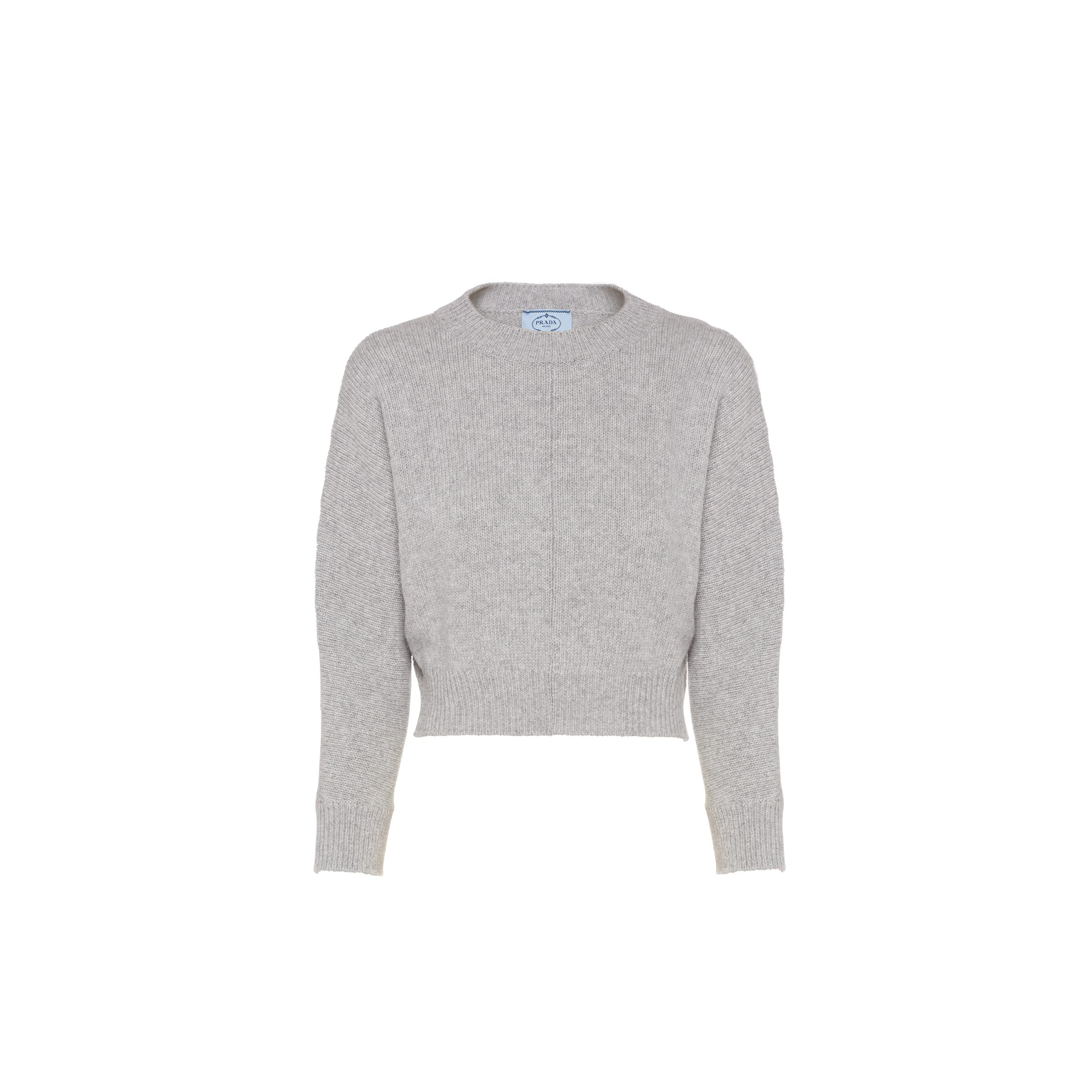 Cashmere Wool Crew-neck Sweater Women Marble Gray
