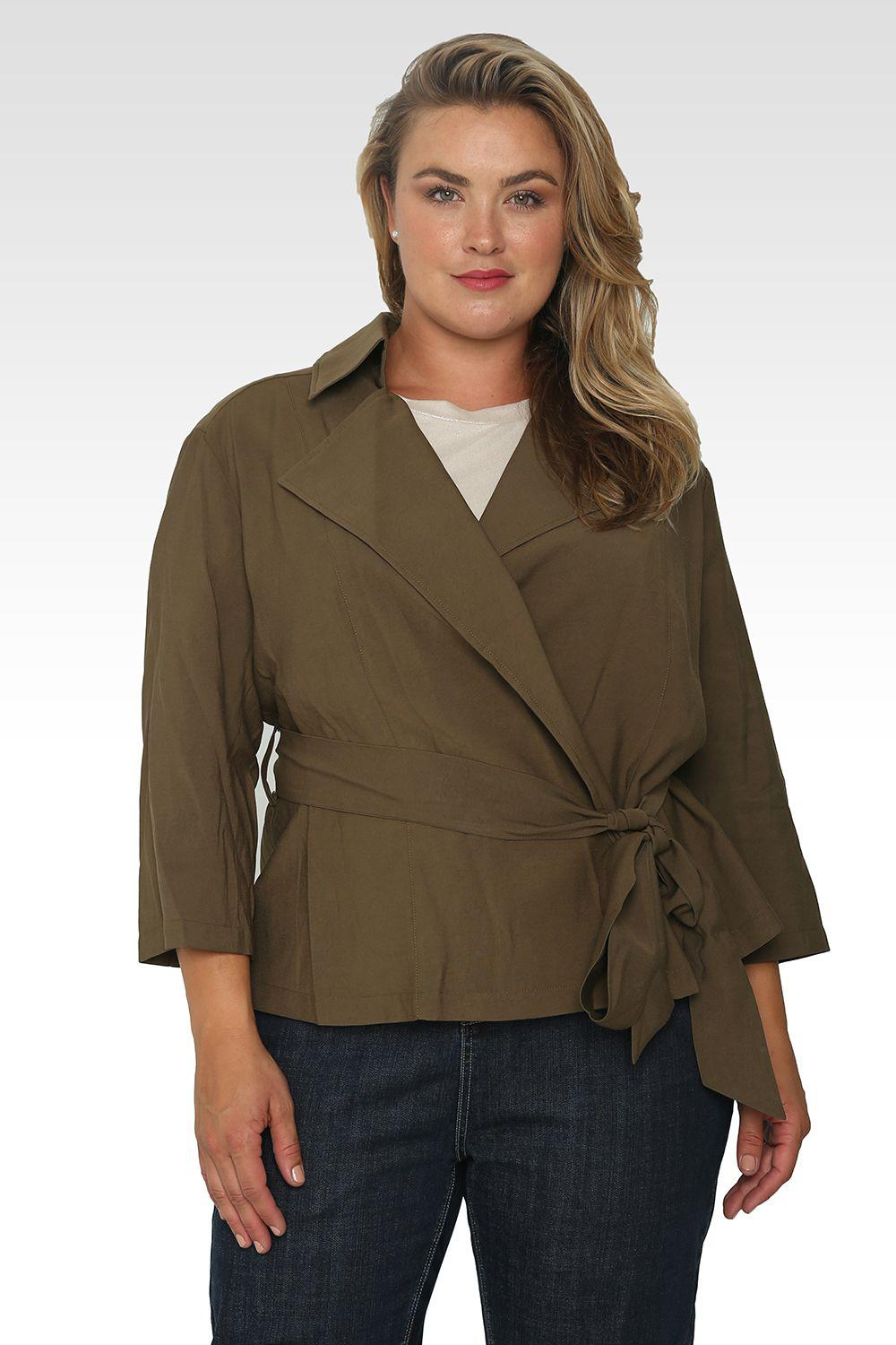 Plus Size Vanessa Cropped Quarter Sleeve Wrap Trench Jacket - Olive Green