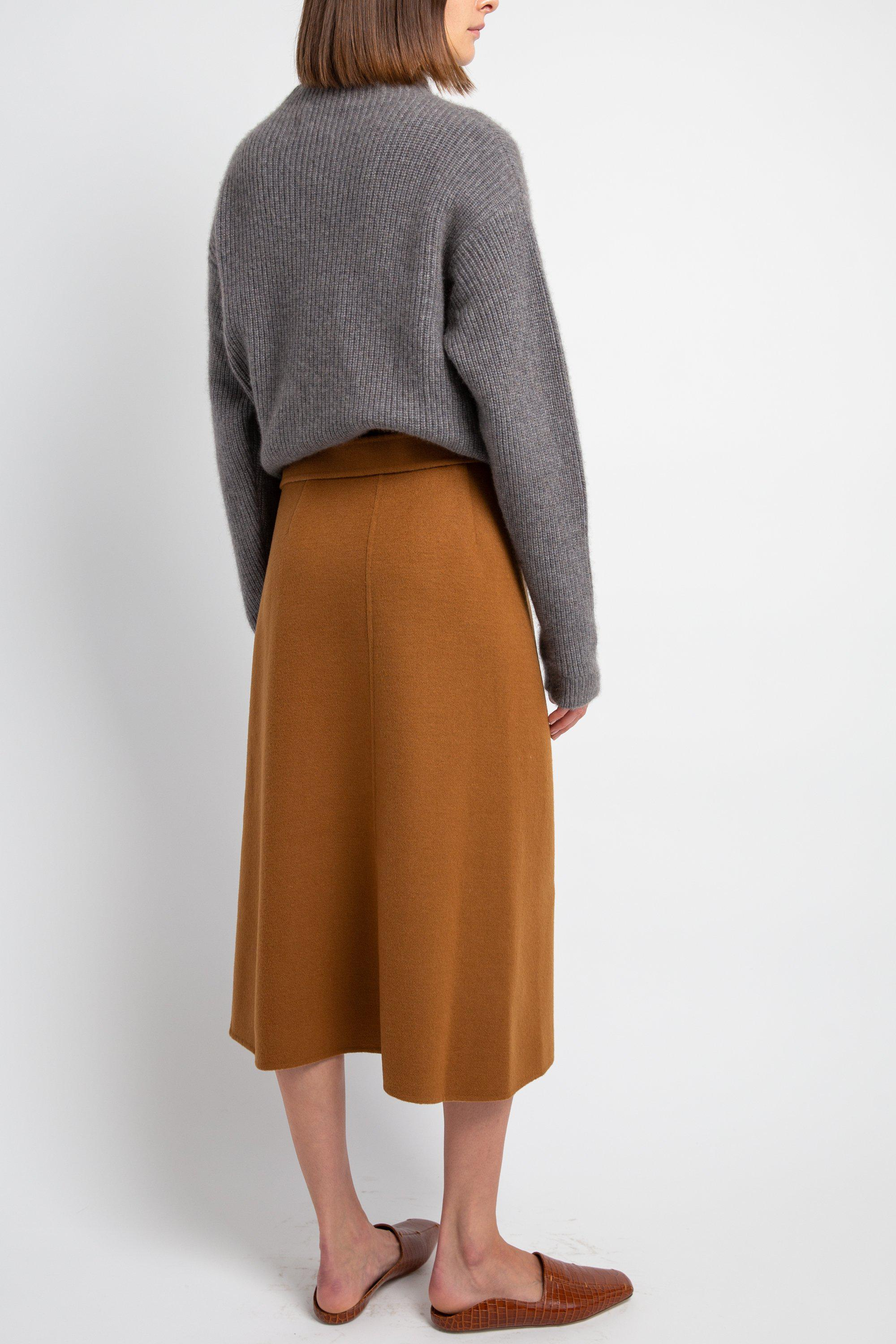 Camel Double-Faced Wool Skirt 2