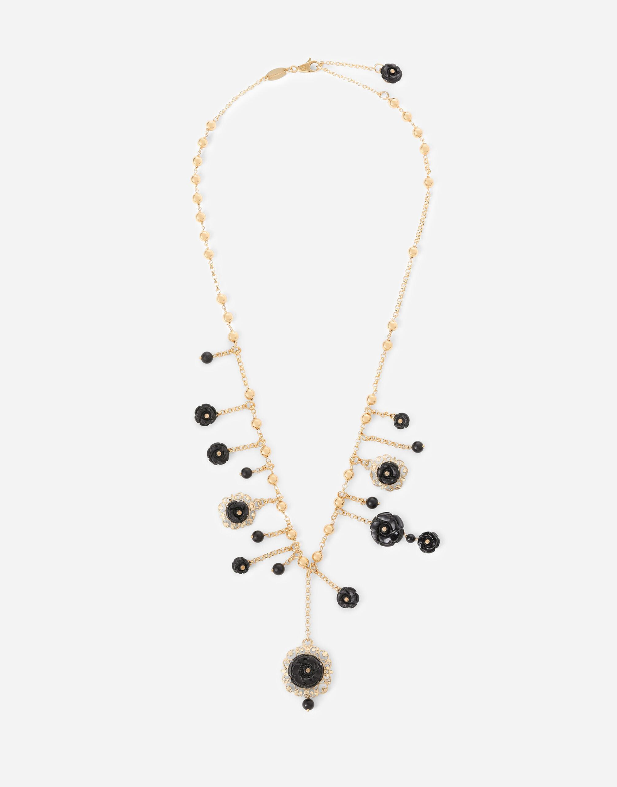 Rose necklace in yellow 18kt gold with black jade roses