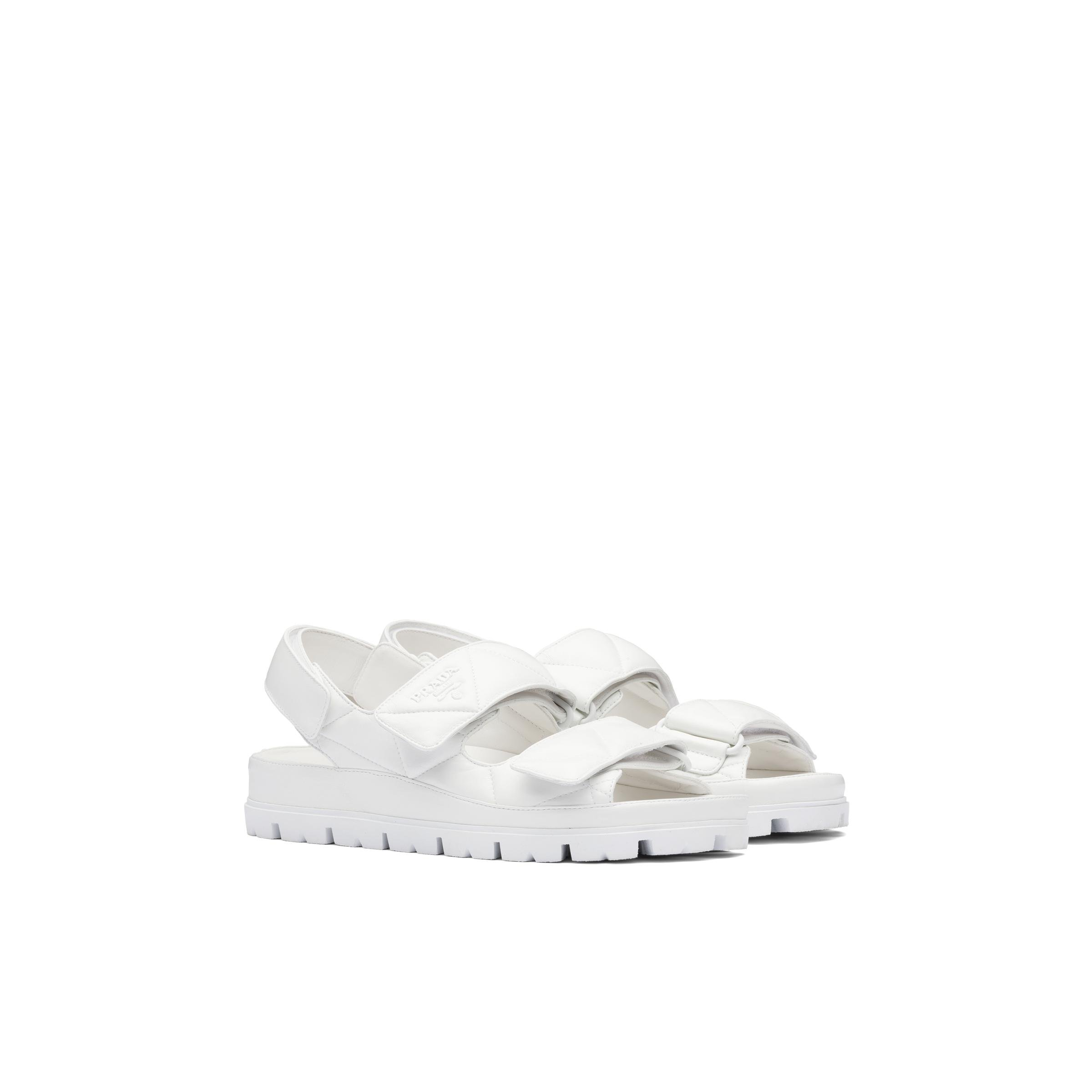 Padded Nappa Leather Sandals Women White 0