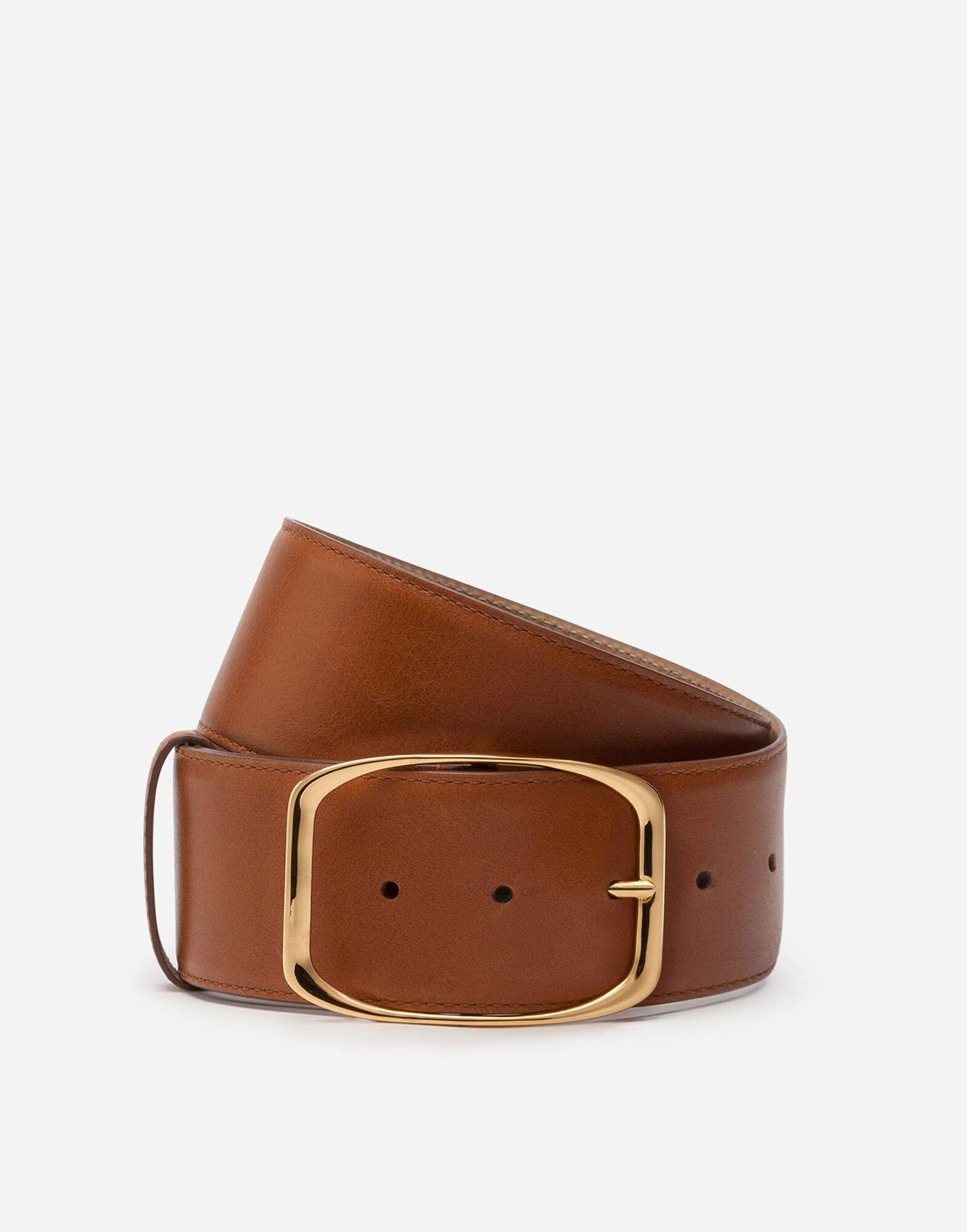 Belt in vintage calfskin with square buckle