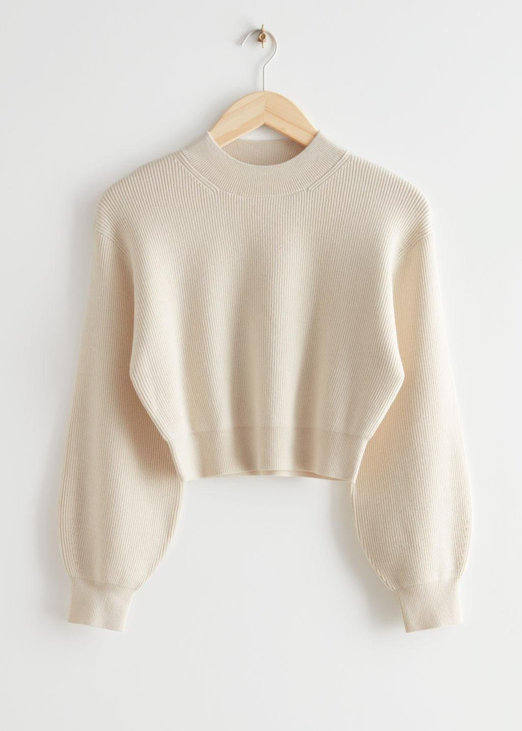 Cropped Bubble Sleeve Knit Sweater
