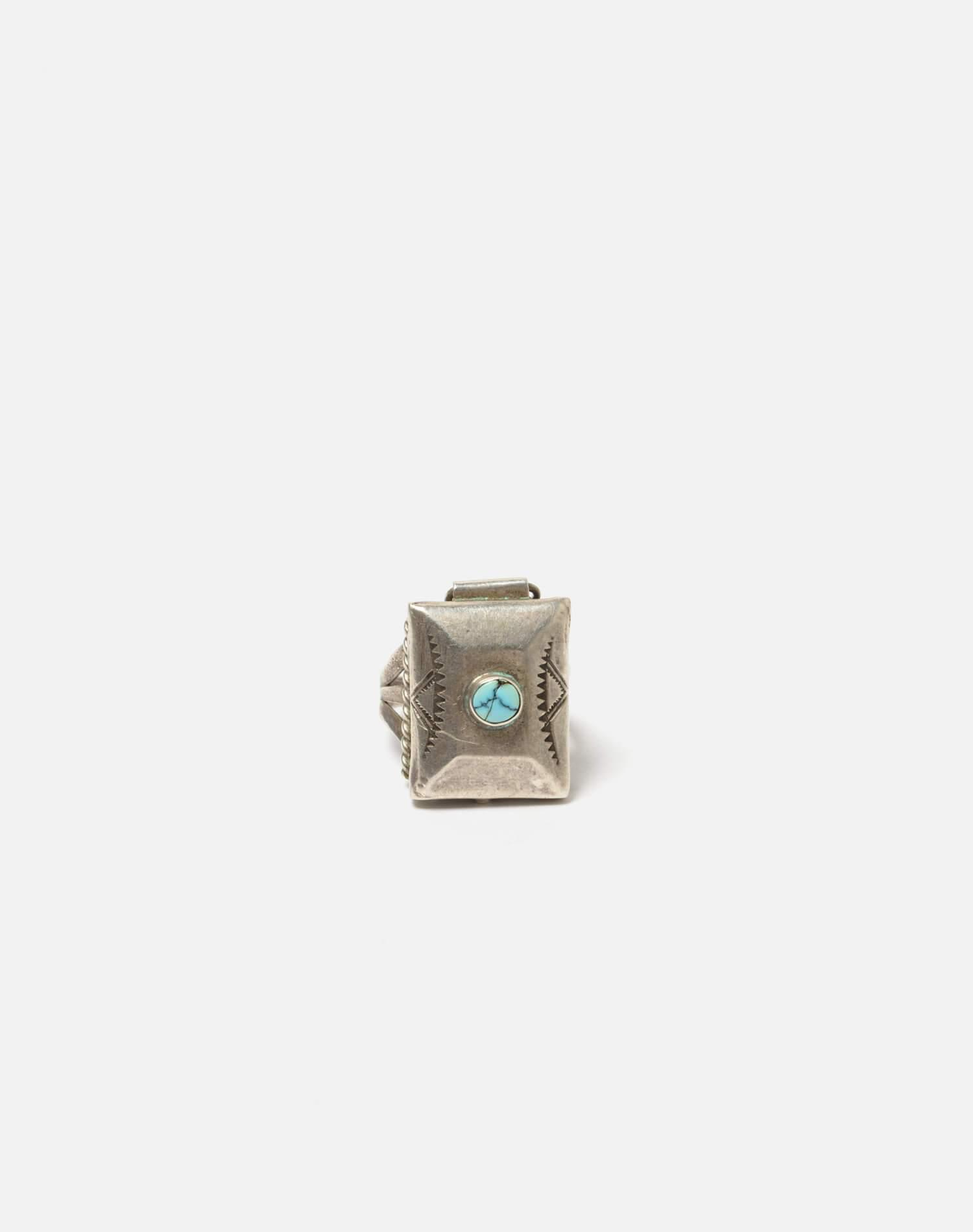 1940s Navajo Sterling And Turquoise Stash Box Ring - #99
