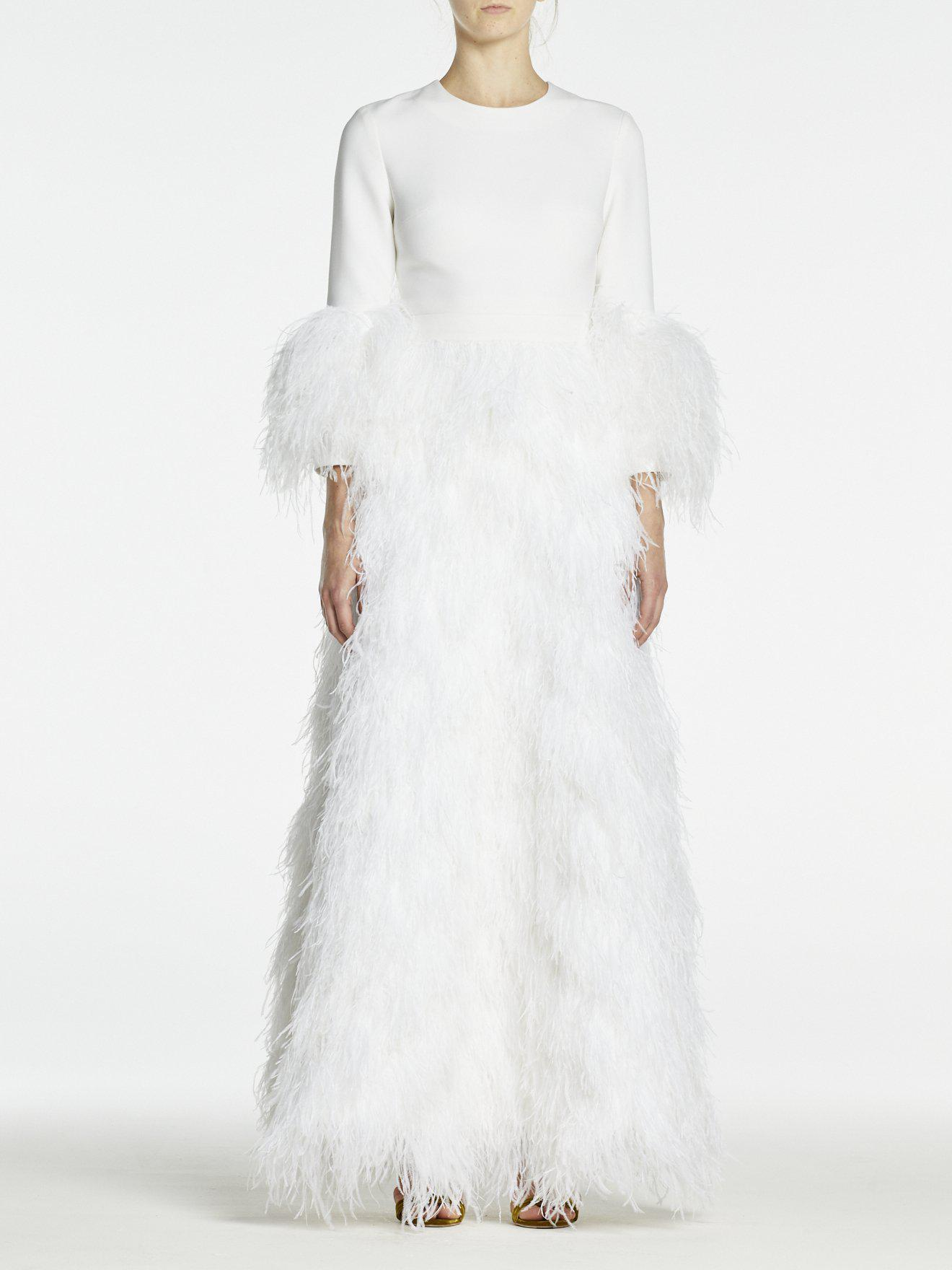 BIANCA SKIRT WHITE OSTRICH FEATHERS