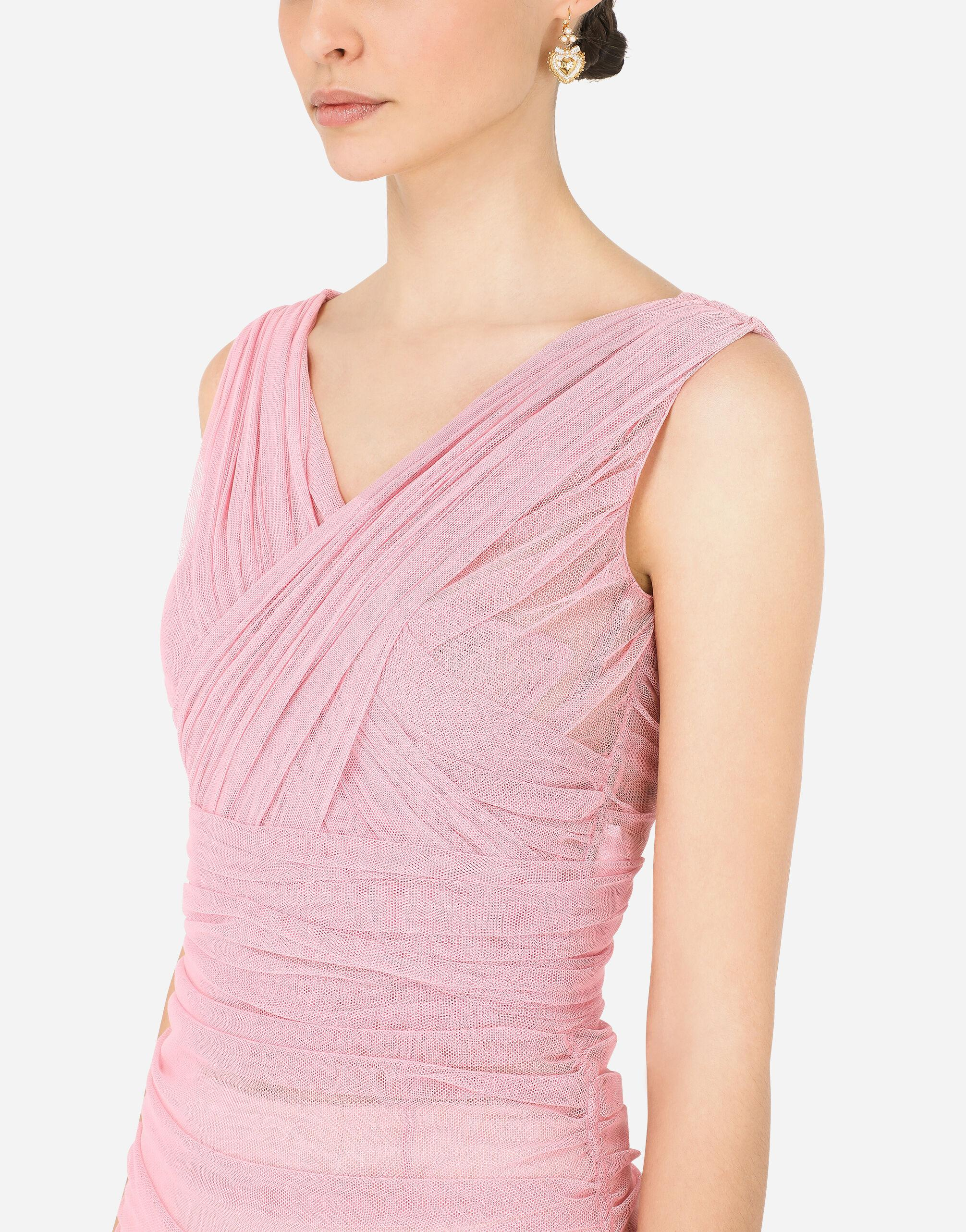 Calf-length draped dress in stretch tulle 2