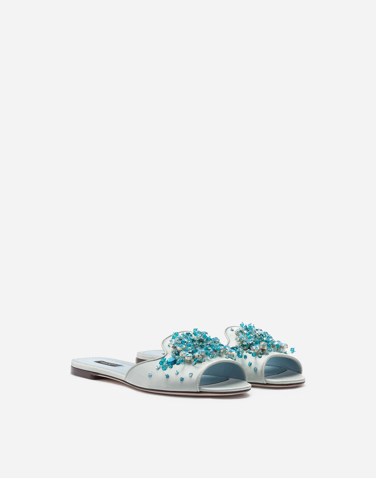 Satin sliders with bejeweled embellishment 1