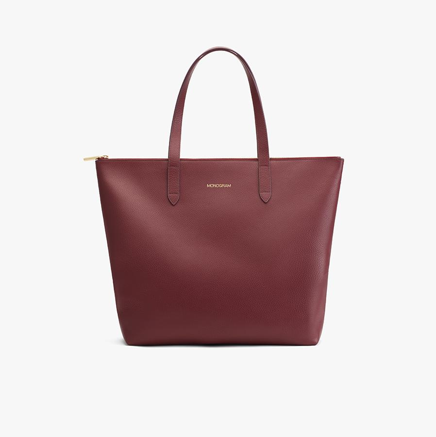 Women's Classic Leather Zipper Tote Bag in Merlot Painted | Pebbled Leather by Cuyana 6