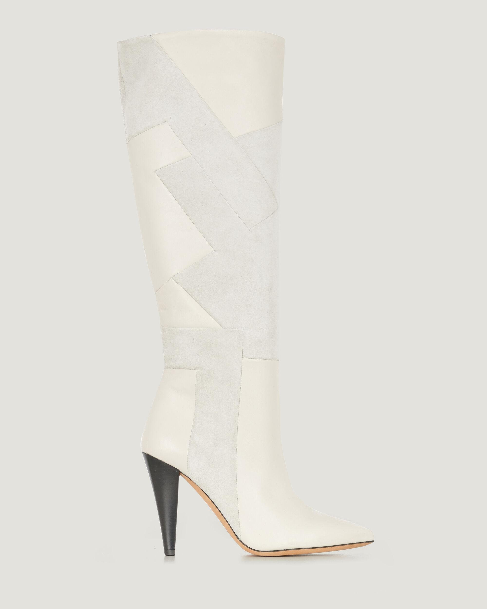 DARSON KNEE HIGH PATCHWORK LEATHER BOOTS