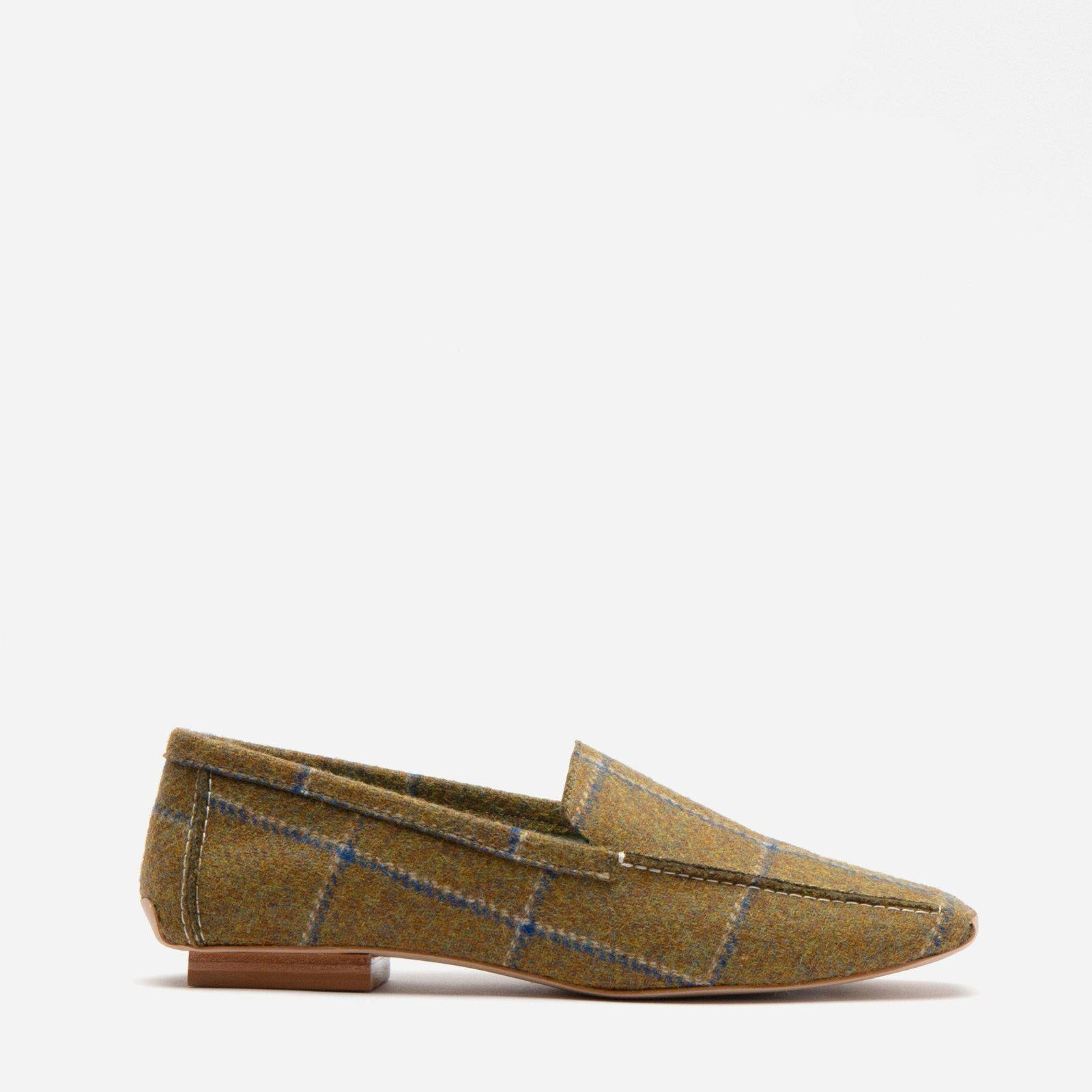 Elyce Loafer Wool Plaid Olive Navy