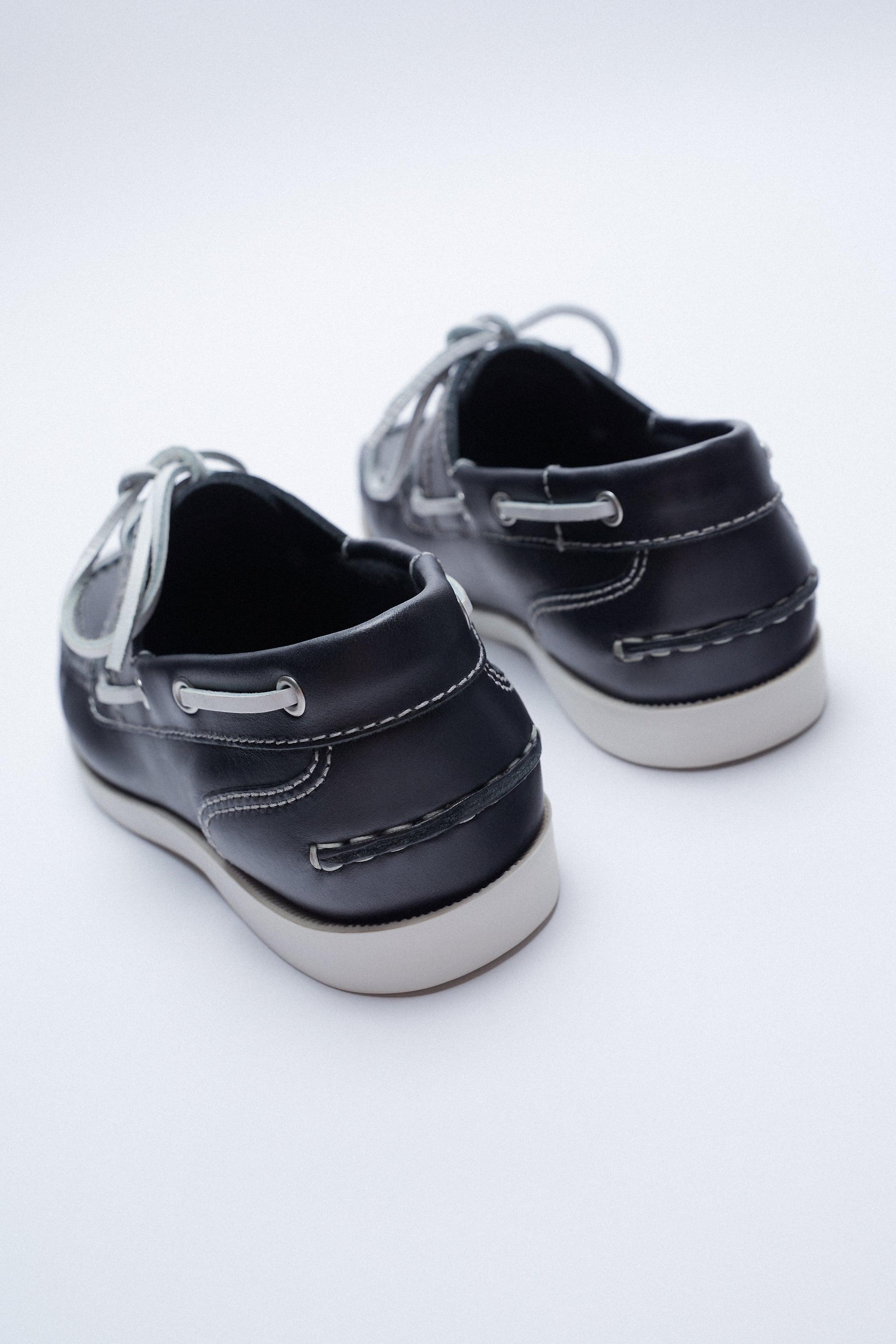 LOW HEEL LEATHER BOAT SHOES 5