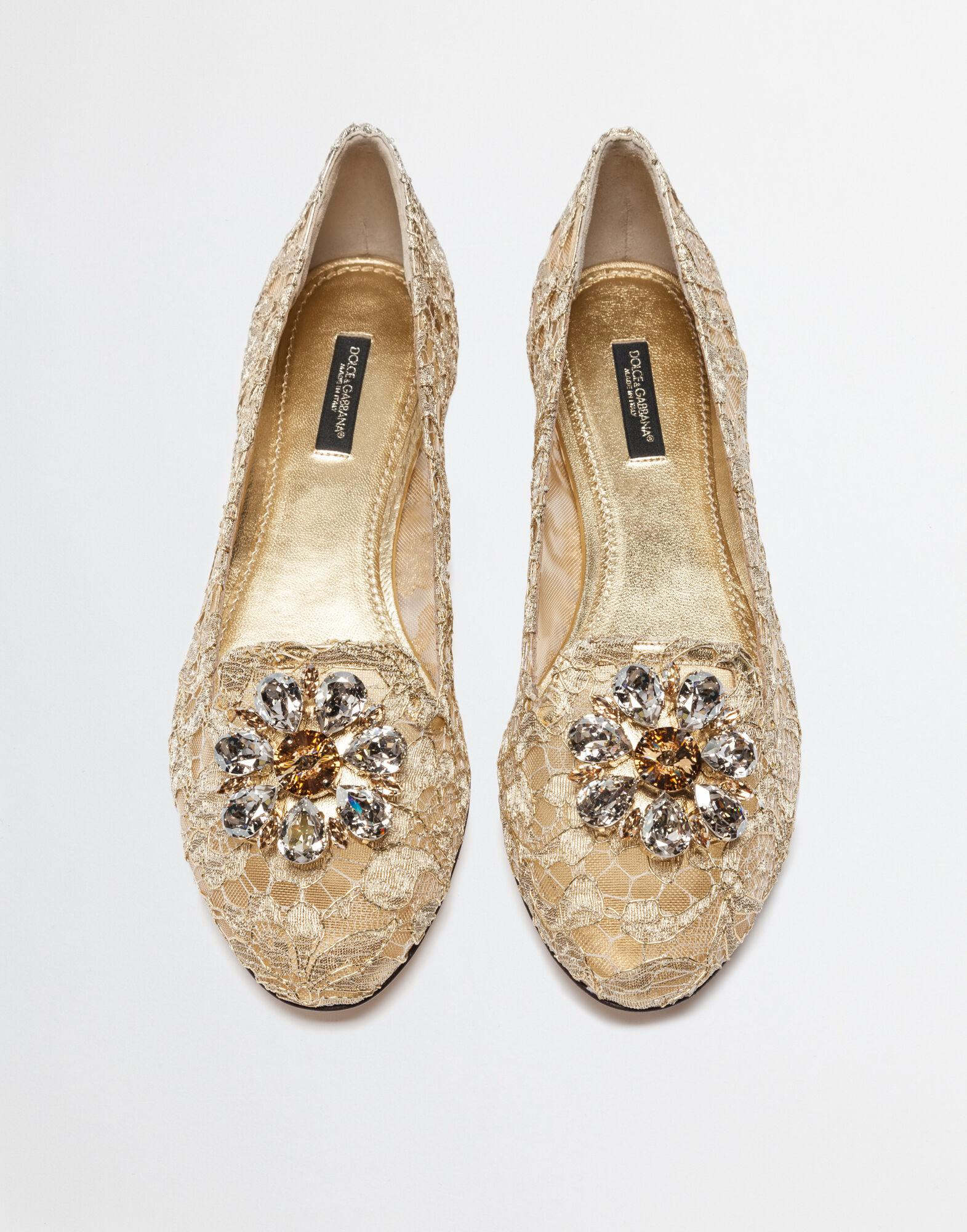 Slipper in Taormina lurex lace with crystals 2