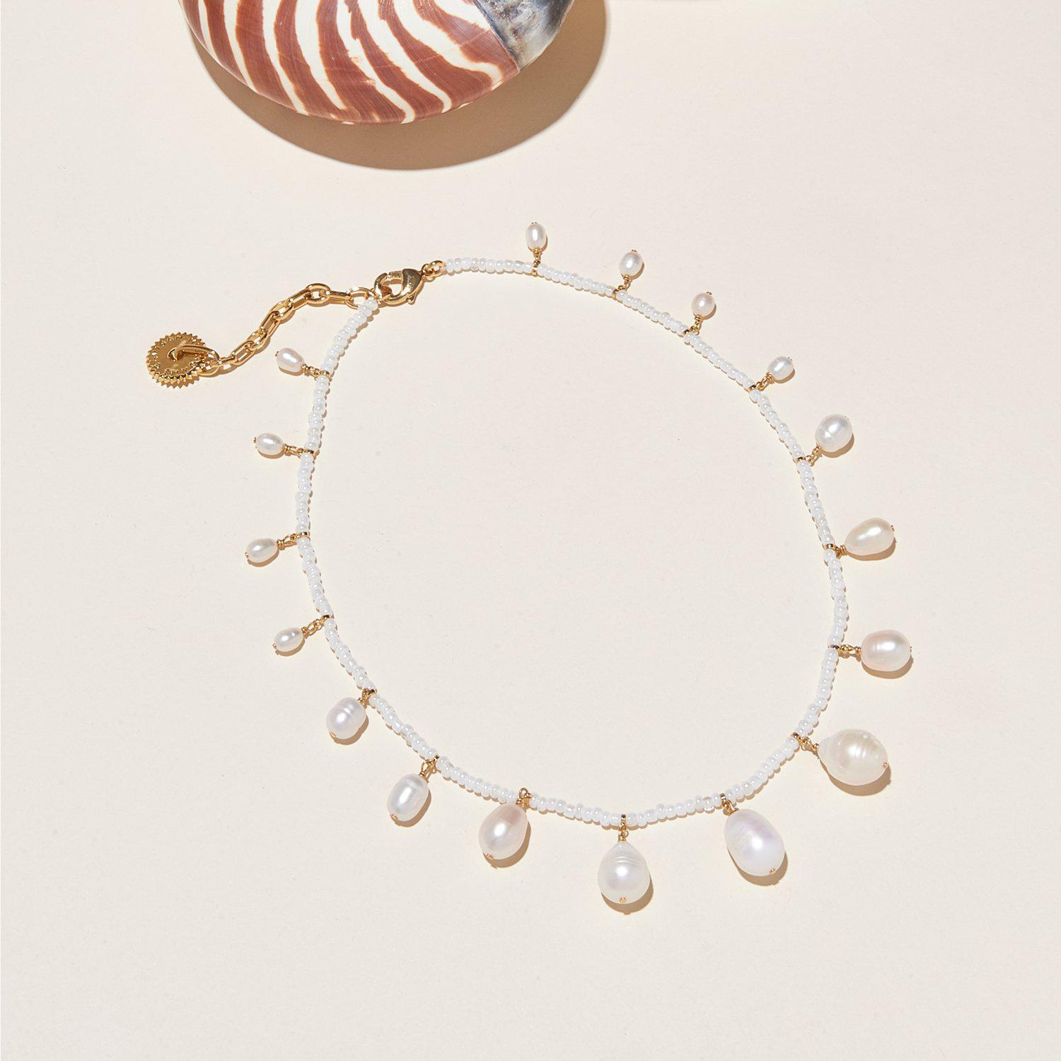 Pearl and Bead Necklace White