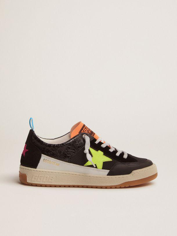 Women's black Yeah sneakers with fluorescent yellow star