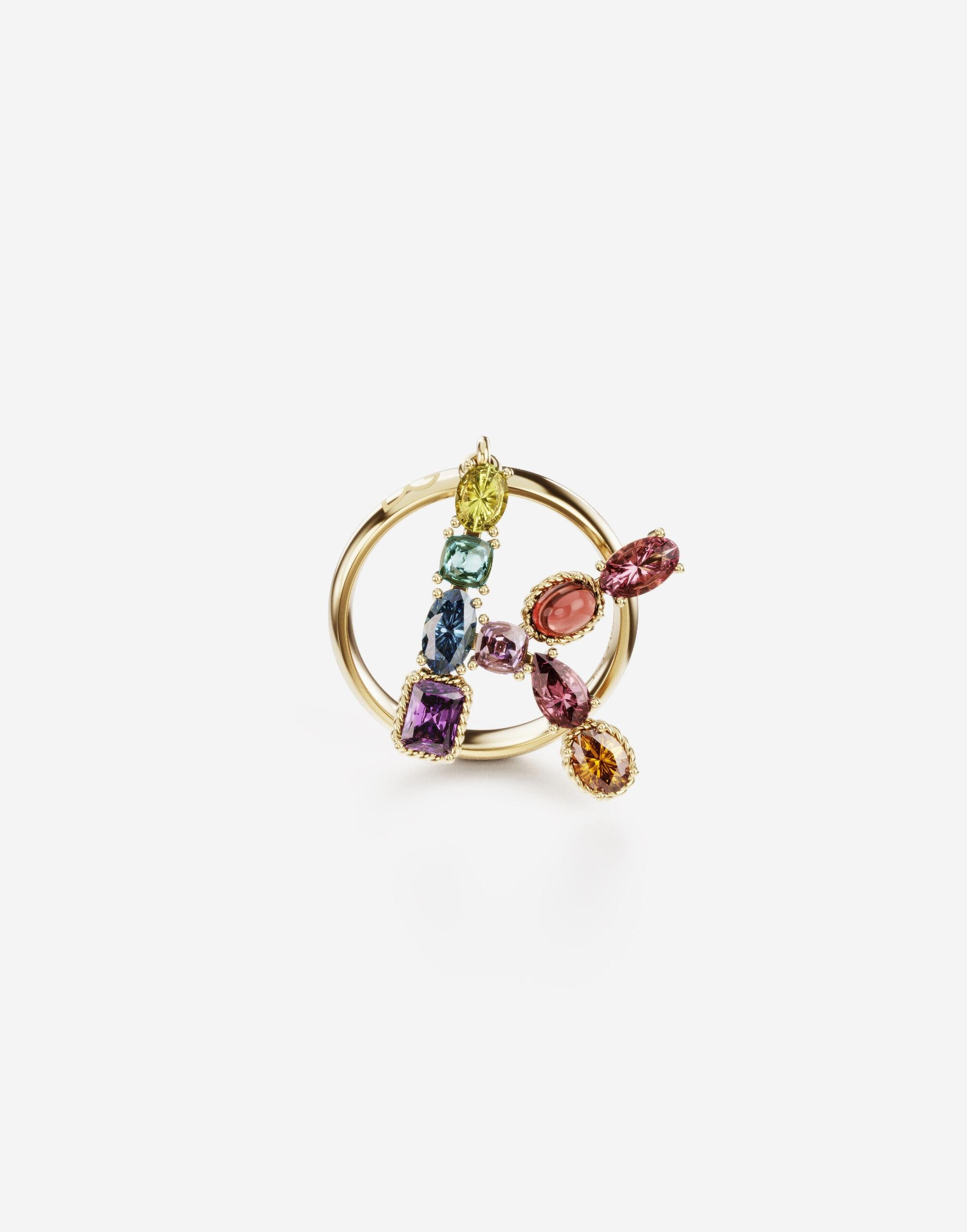 Rainbow alphabet K ring in yellow gold with multicolor fine gems