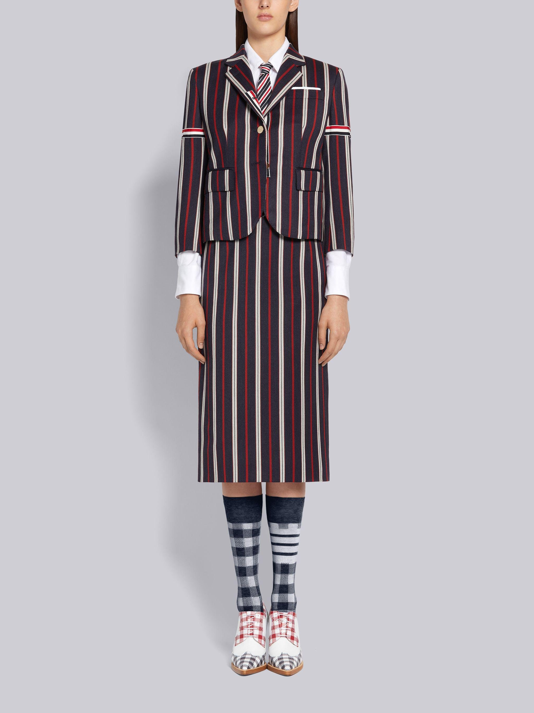 Multi-Color Wool Cotton Suiting Variegated Rep Stripe High Armhole Jacket 3