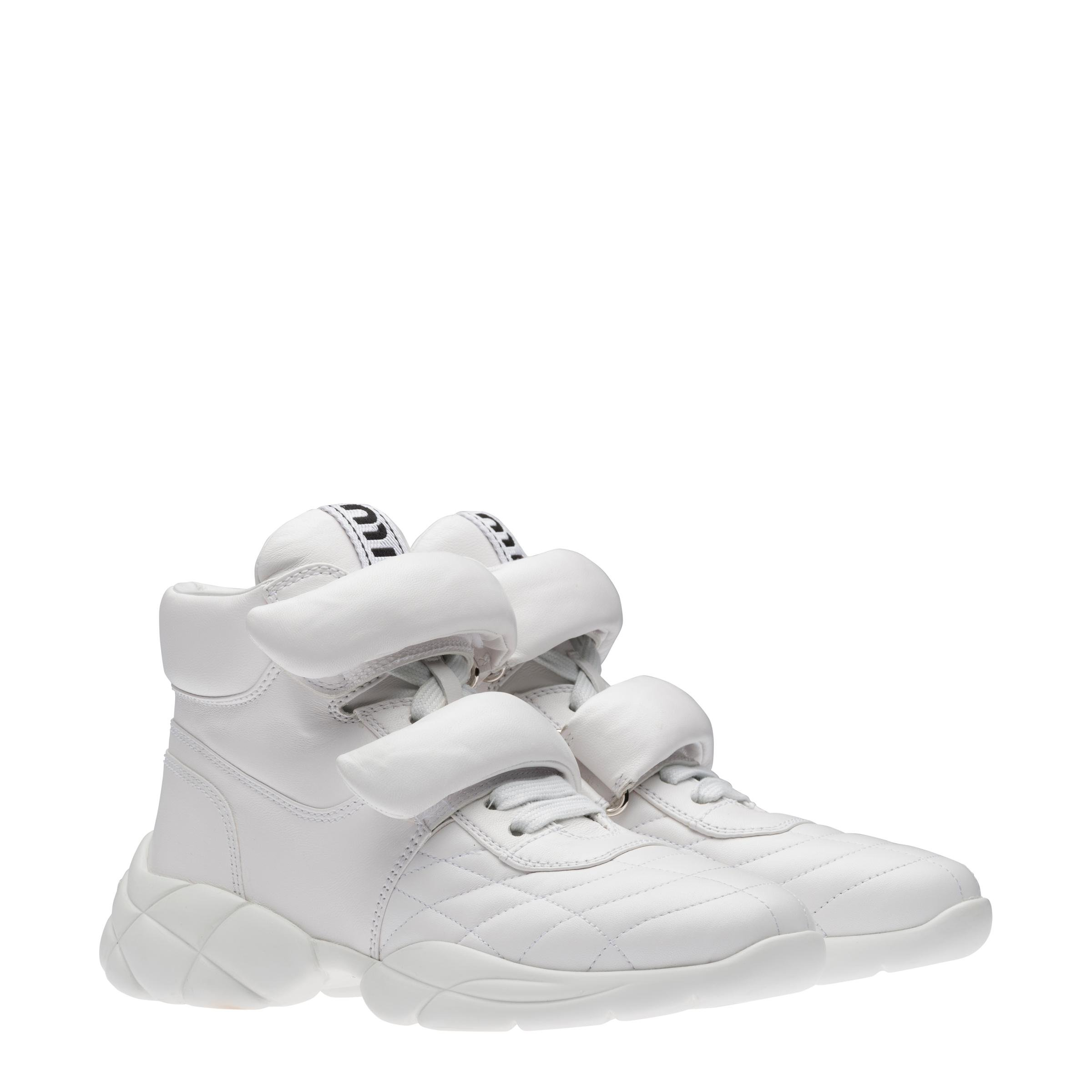 Nappa Leather High-top Sneakers Women White