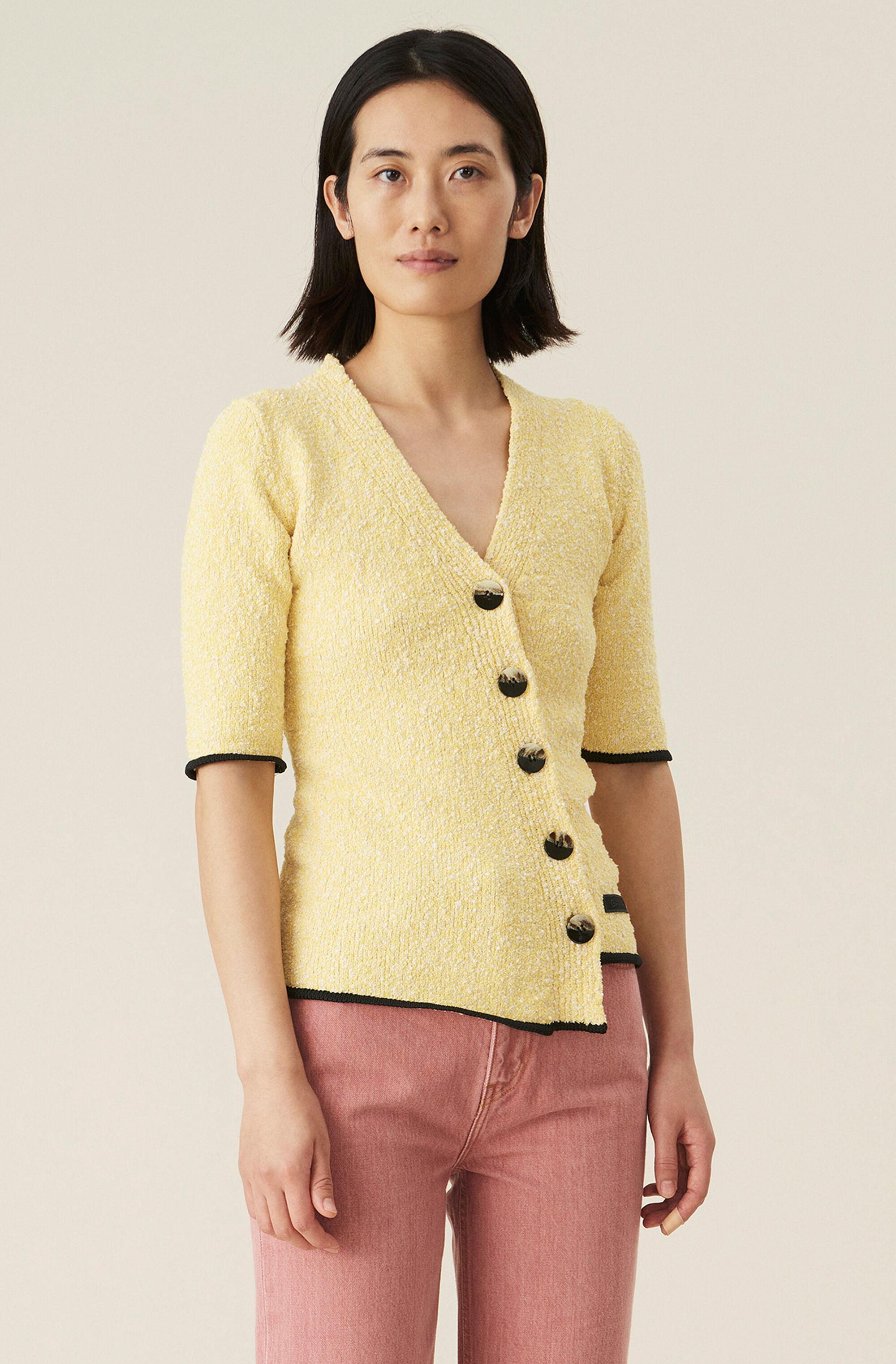 Yellow Organic Cotton Knit Fitted Cardigan
