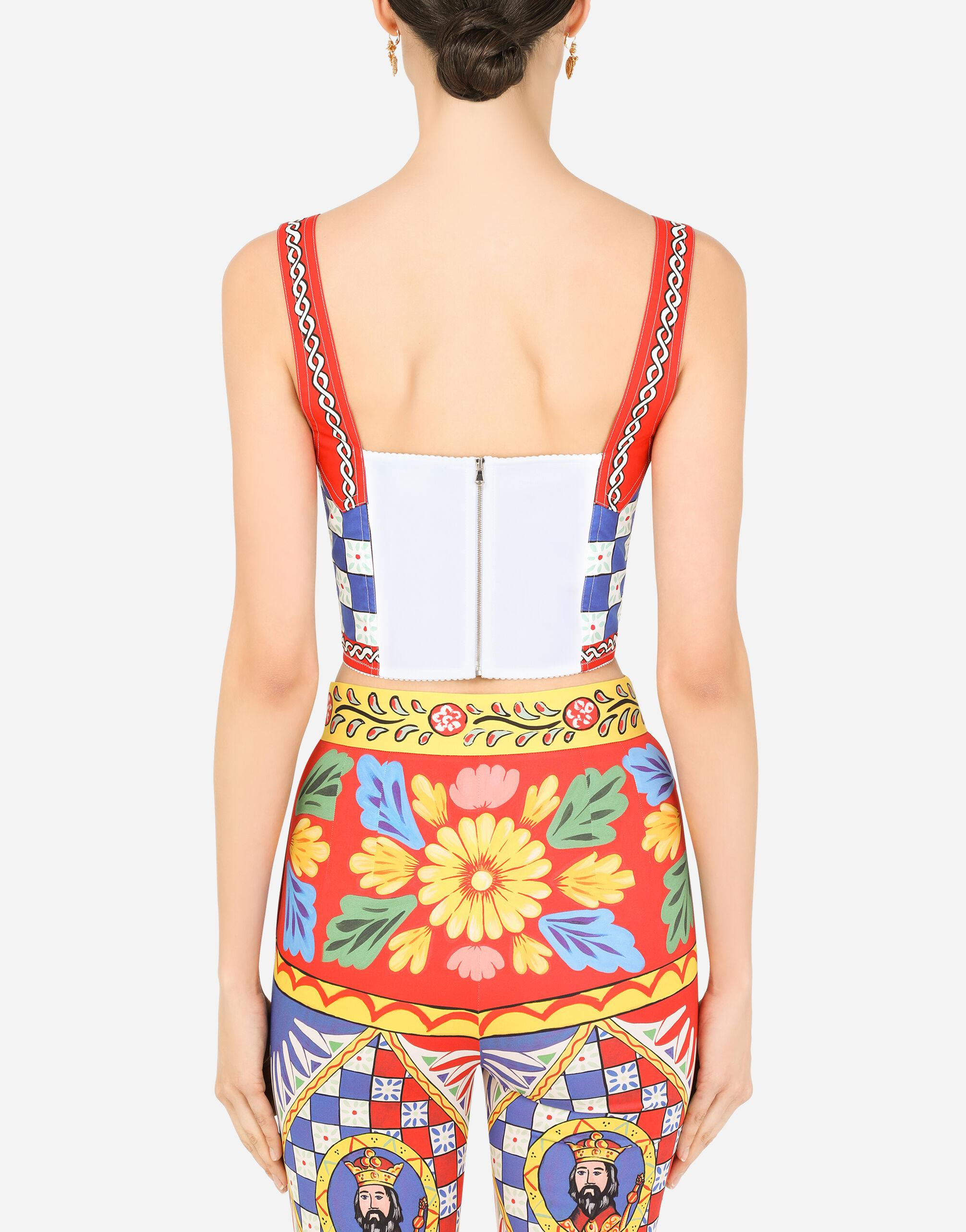 Carretto-print charmeuse bustier top 1