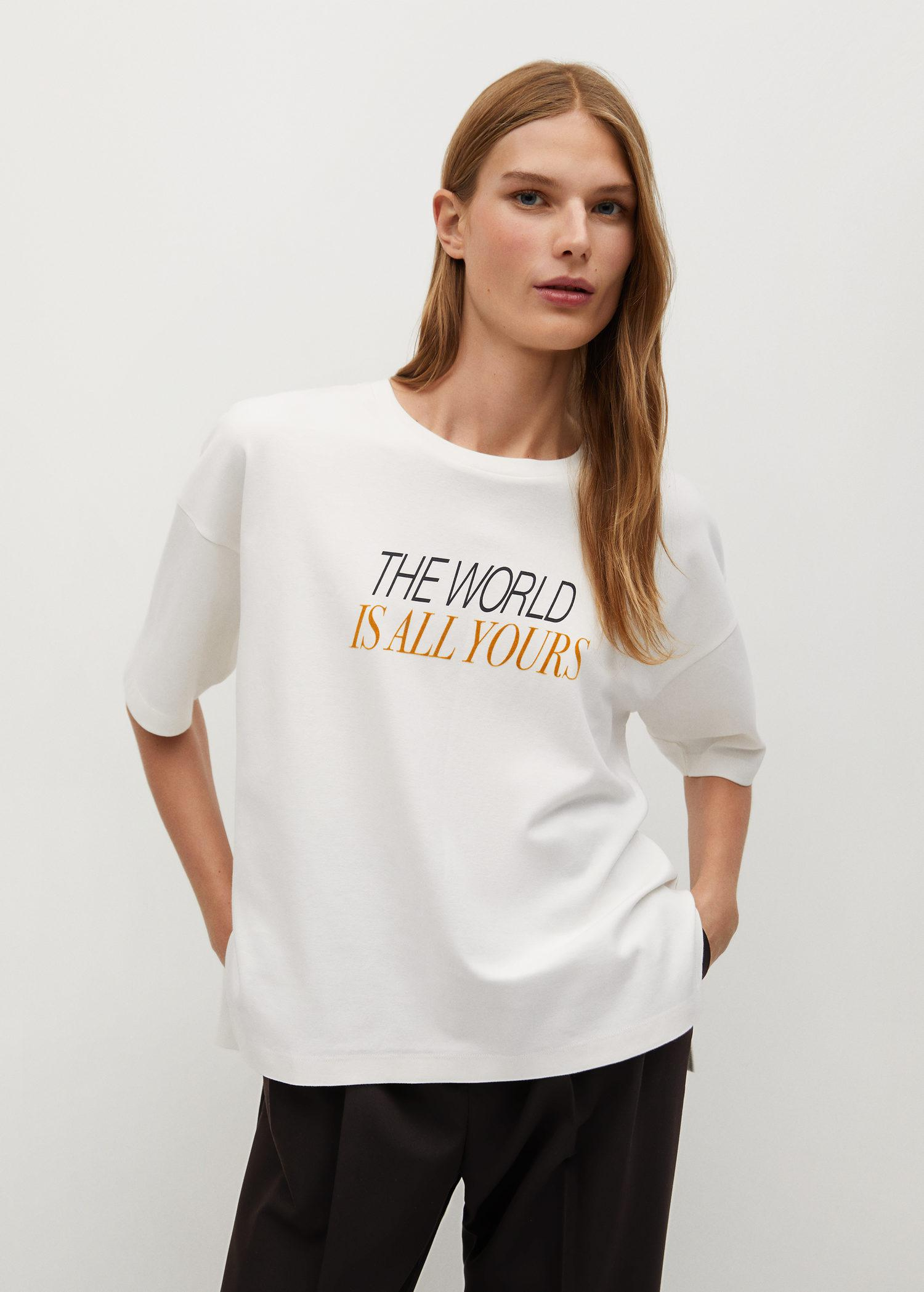 Short-sleeved t-shirt with message