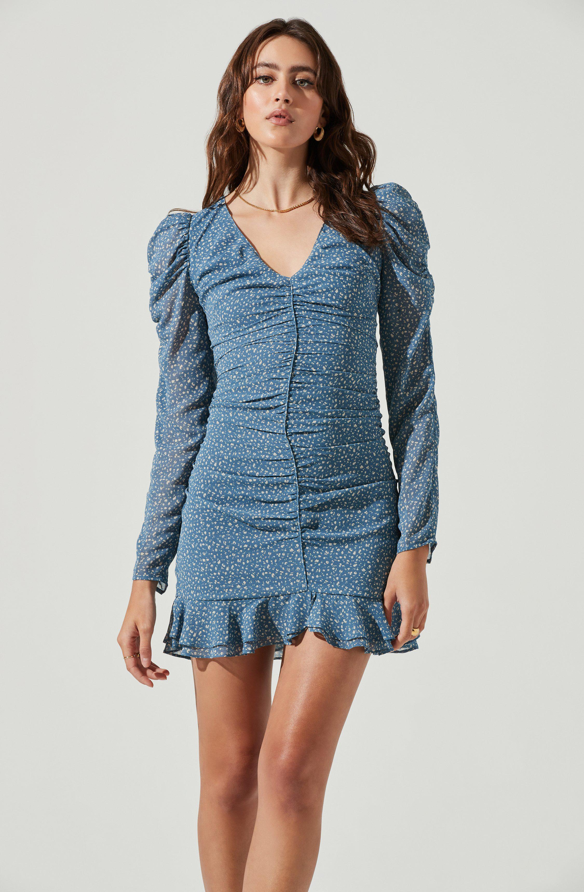 Long Sleeve Ruched Center Dress