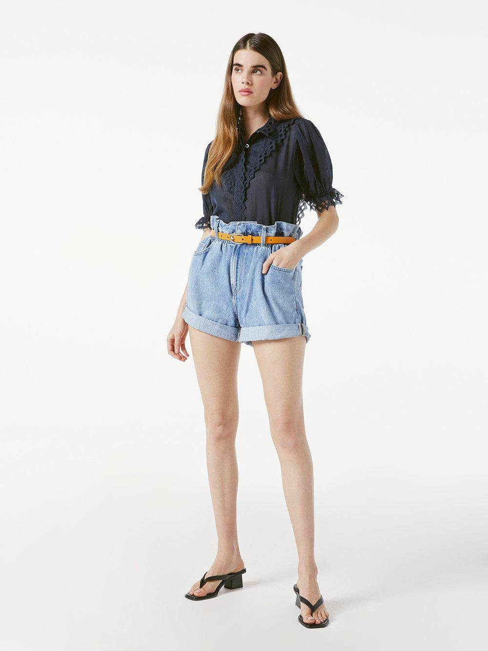 Embroidered High Neck Short Sleeve -- Navy 1