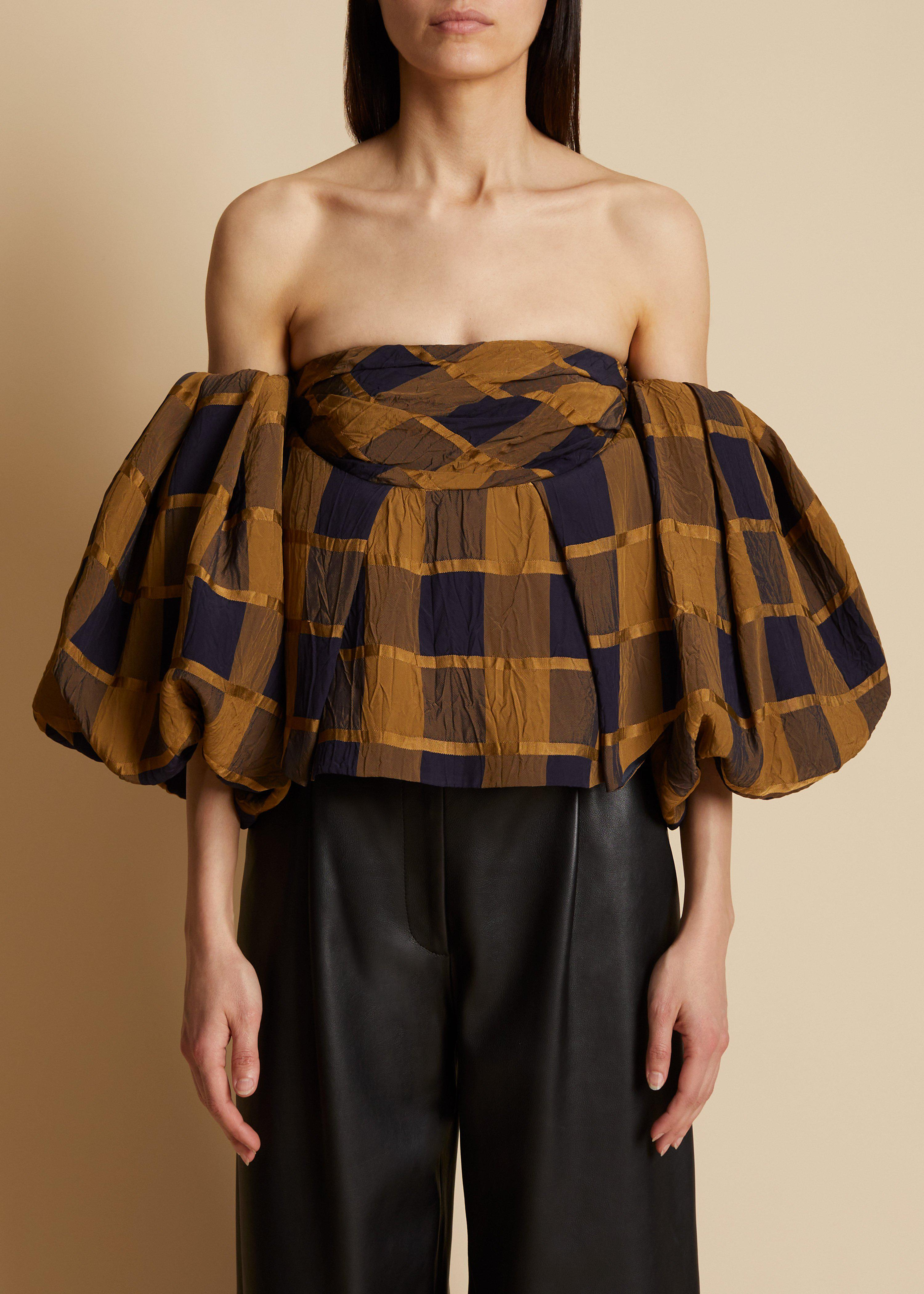 The Katerina Top in Goldenrod and Navy
