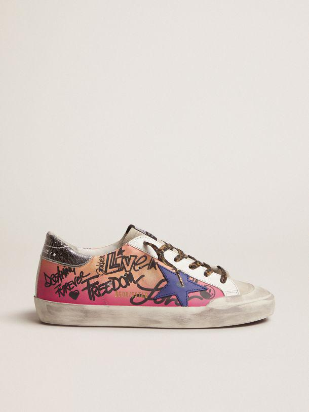 Shaded pink Super-Star sneakers with metallic silver crackle leather heel tab