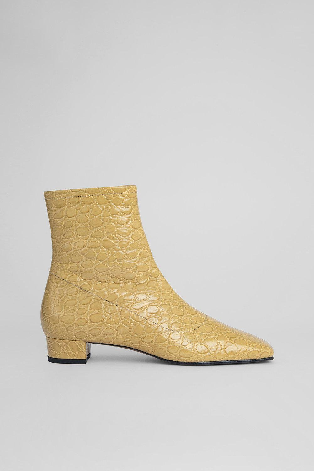 Este Boot Flax Circular Croco Embossed Leather