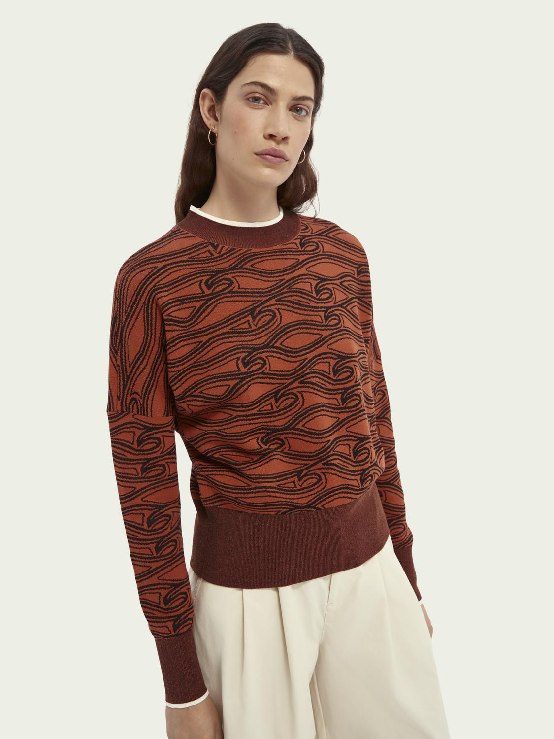 Printed cotton-blend sweater