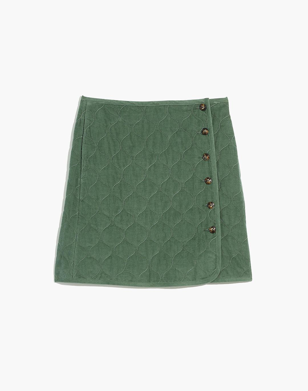 Corduroy Quilted Mini Skirt