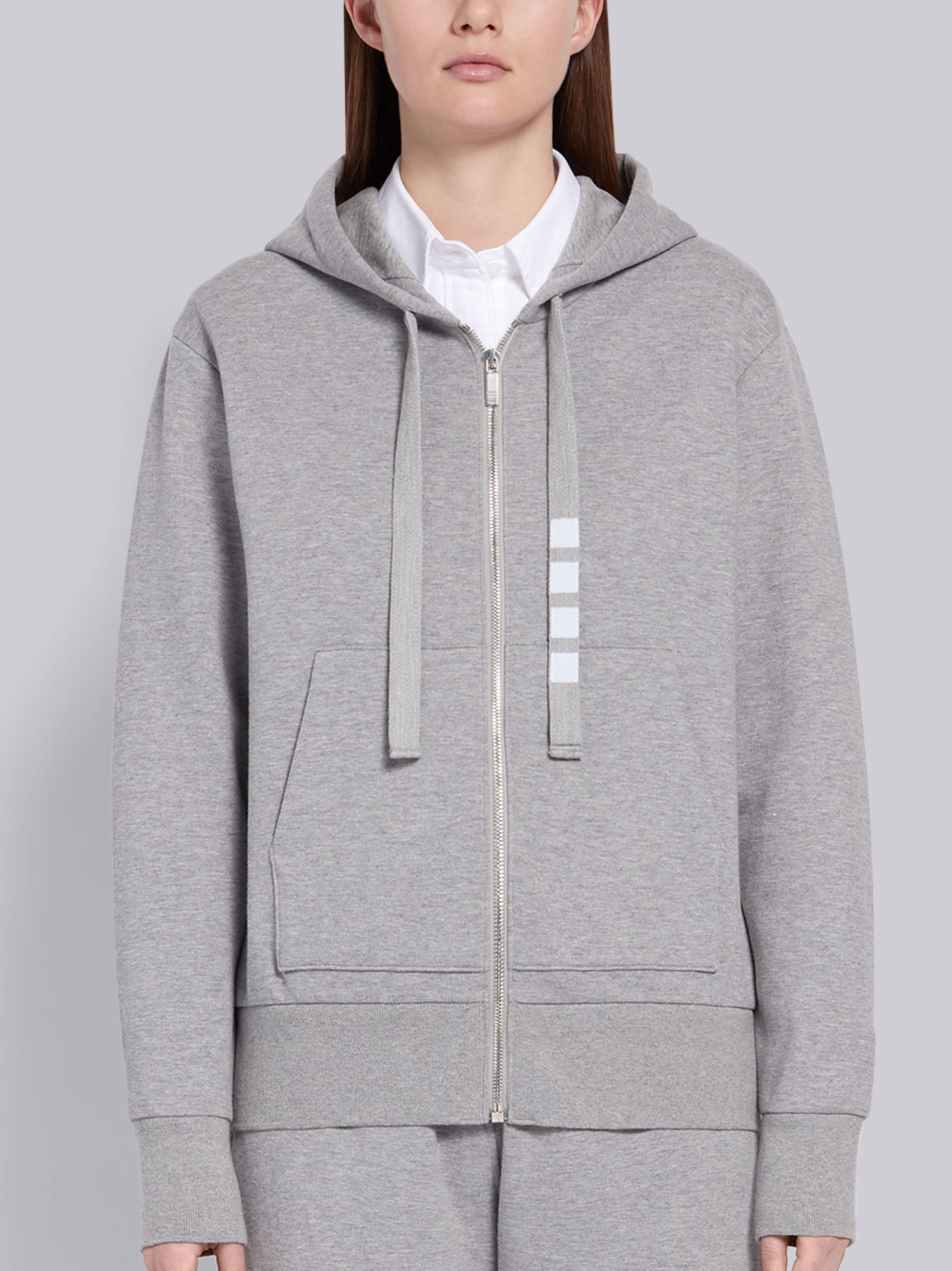 Light Grey Compact Double Knit Cotton Zip-up 4-Bar Hoodie